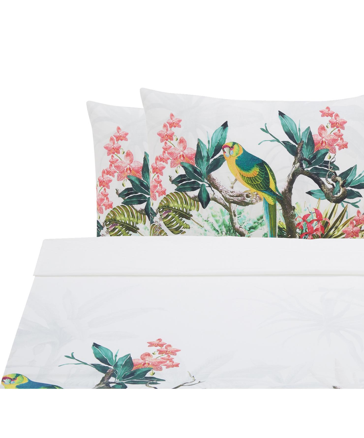 Set lenzuola in cotone ranforce Tropic 3 pz, Tessuto: Renforcé, Bianco, multicolore, 240 x 270 cm