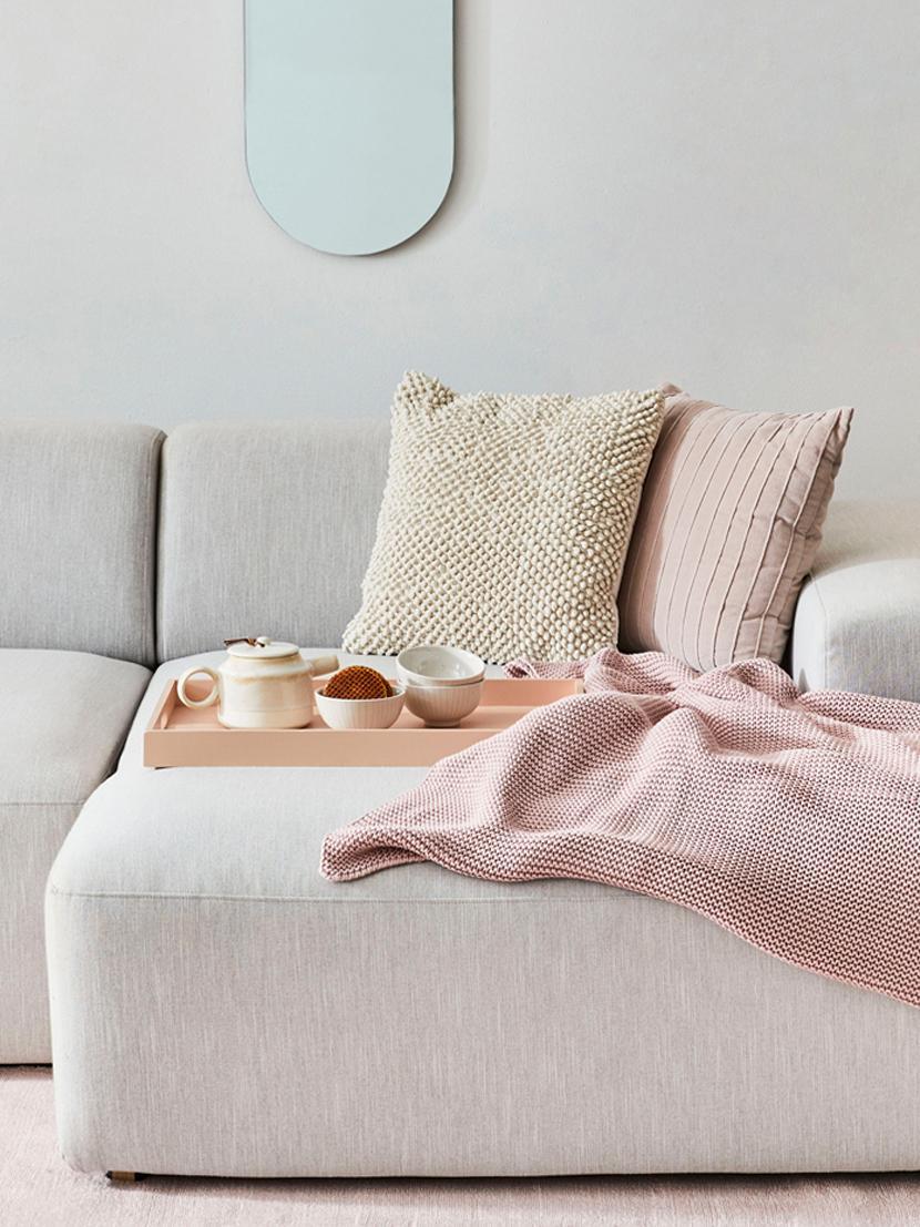Manta de punto Adalyn, 100%algodón, Rosa palo, An 150 x L 200 cm