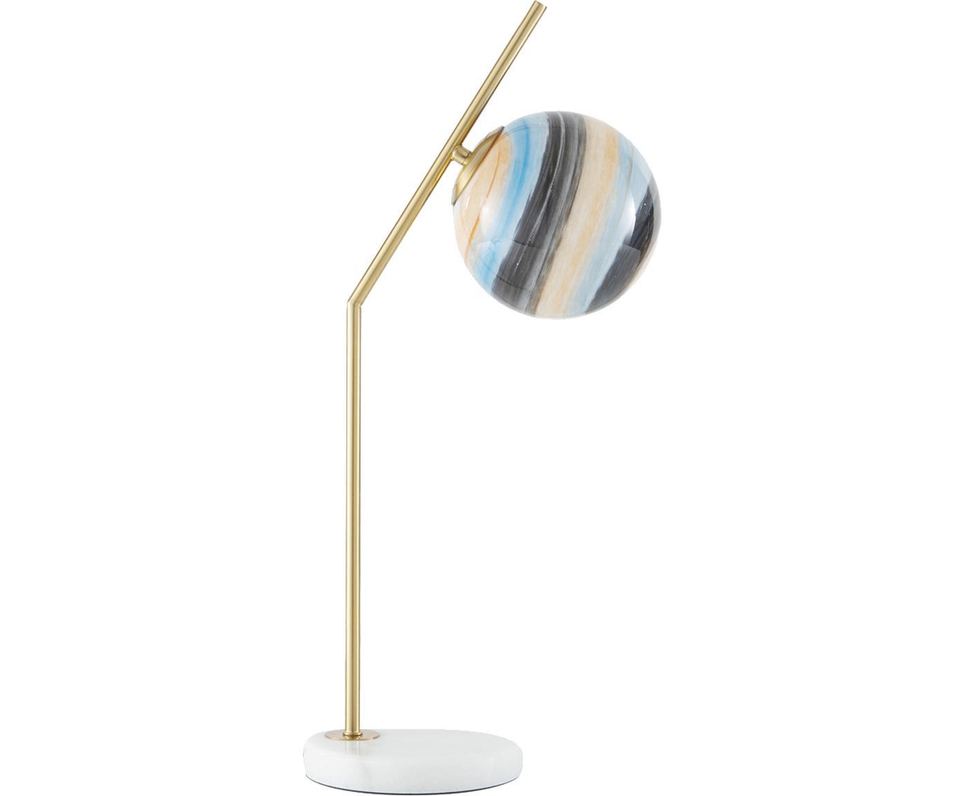 Tischleuchte Opal mit Marmorfuß, Metall, Glas, Messingfarben, Weiß, Pastellfarben, 25 x 56 cm