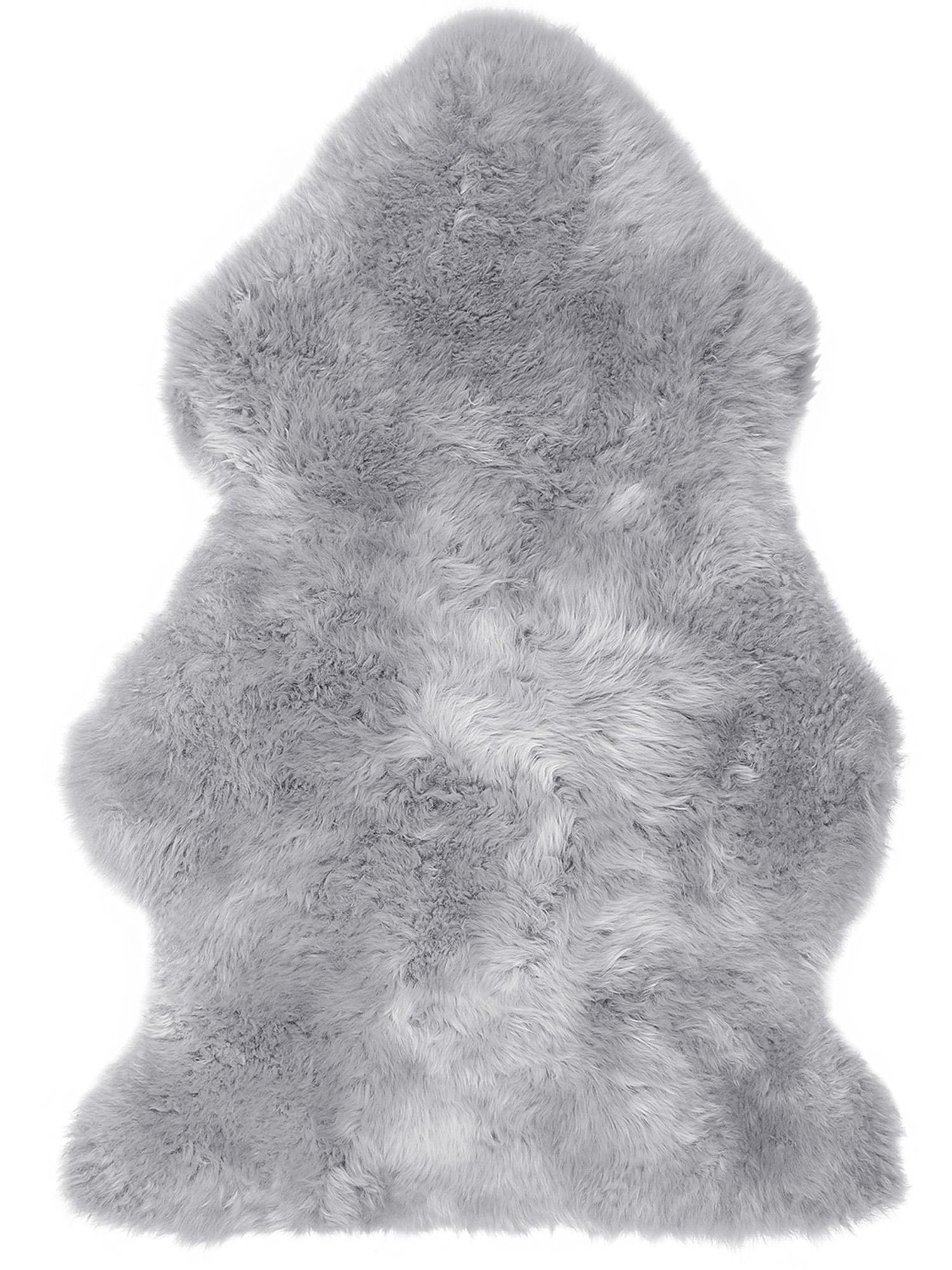 Pelliccia di pecora Oslo, Retro: 100% pelle, rivestito sen, Grigio chiaro, Larg. 60 x Lung. 90 cm