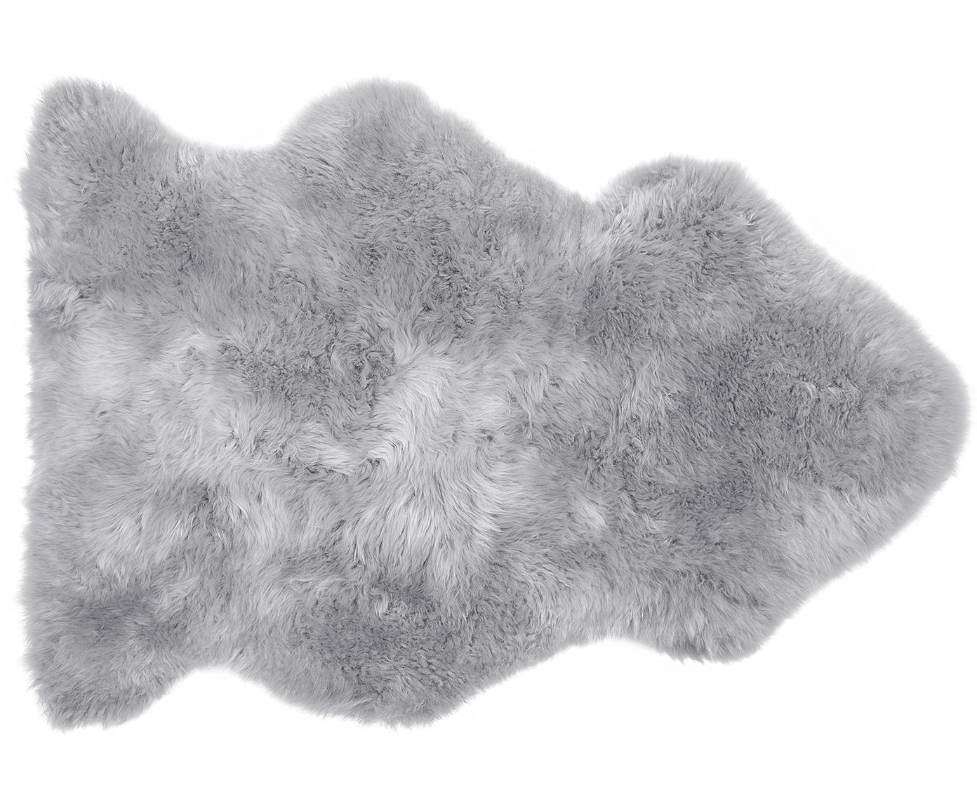 Schapenvacht Oslo, glad, Bovenzijde: 100% schapenvacht, Onderzijde: 100% leer, chroomvrij gel, Lichtgrijs, 60 x 90 cm