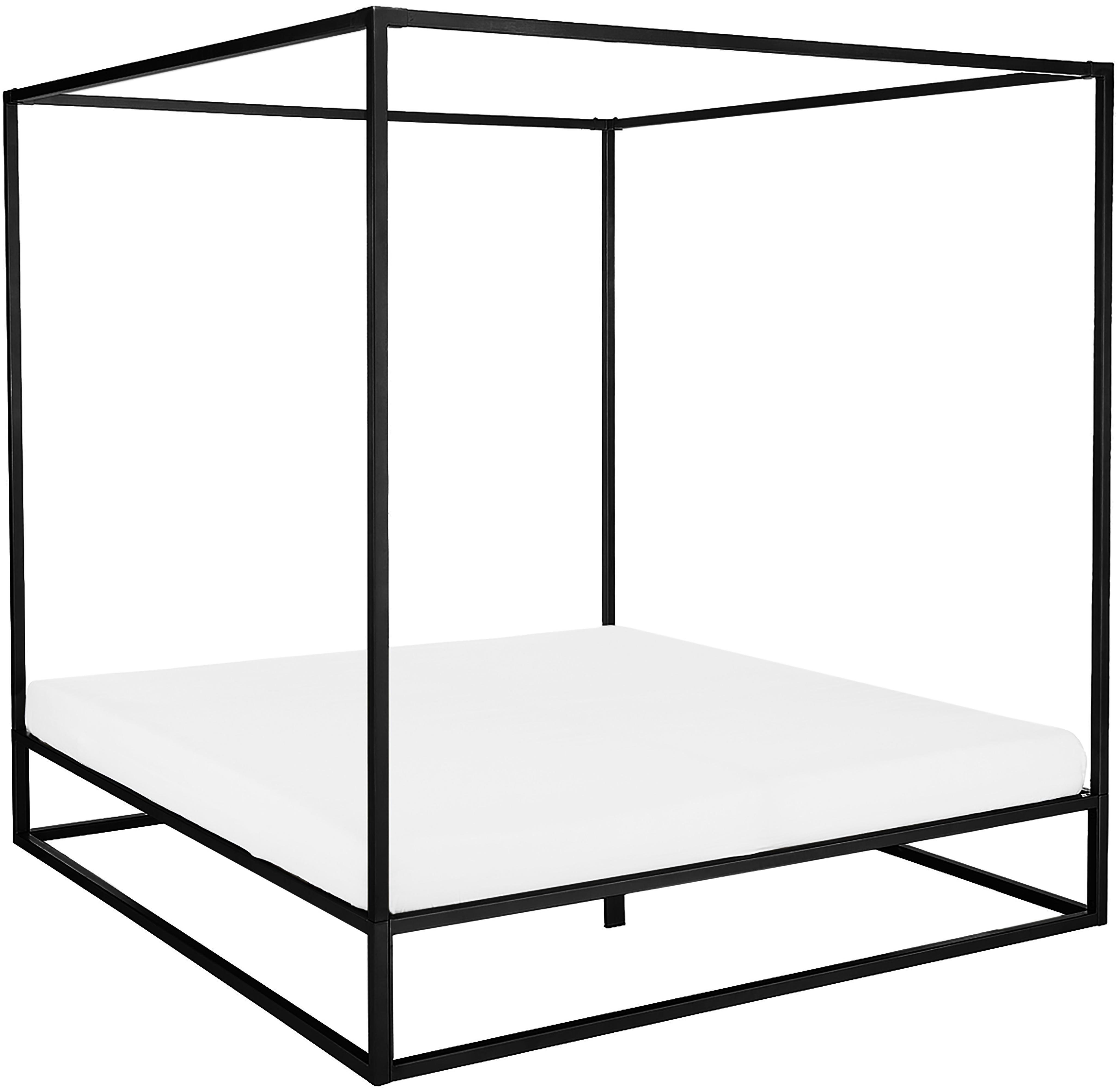 Łóżko z baldachimem Belle, Metal malowany proszkowo, Czarny, matowy, 160 x 200 cm