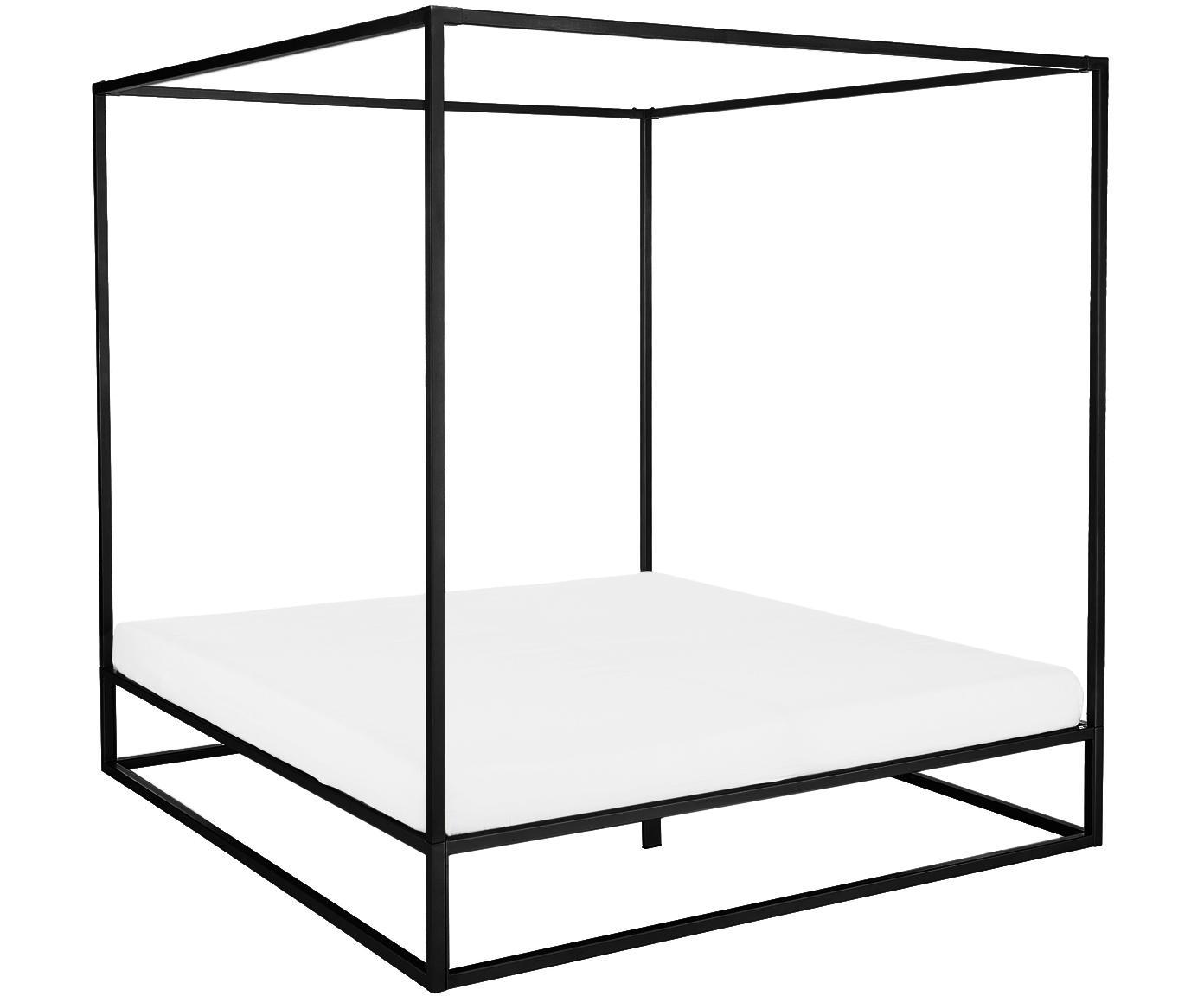 Cama con dosel Belle, Metal con pintura en polvo, Negro mate, 160 x 200 cm