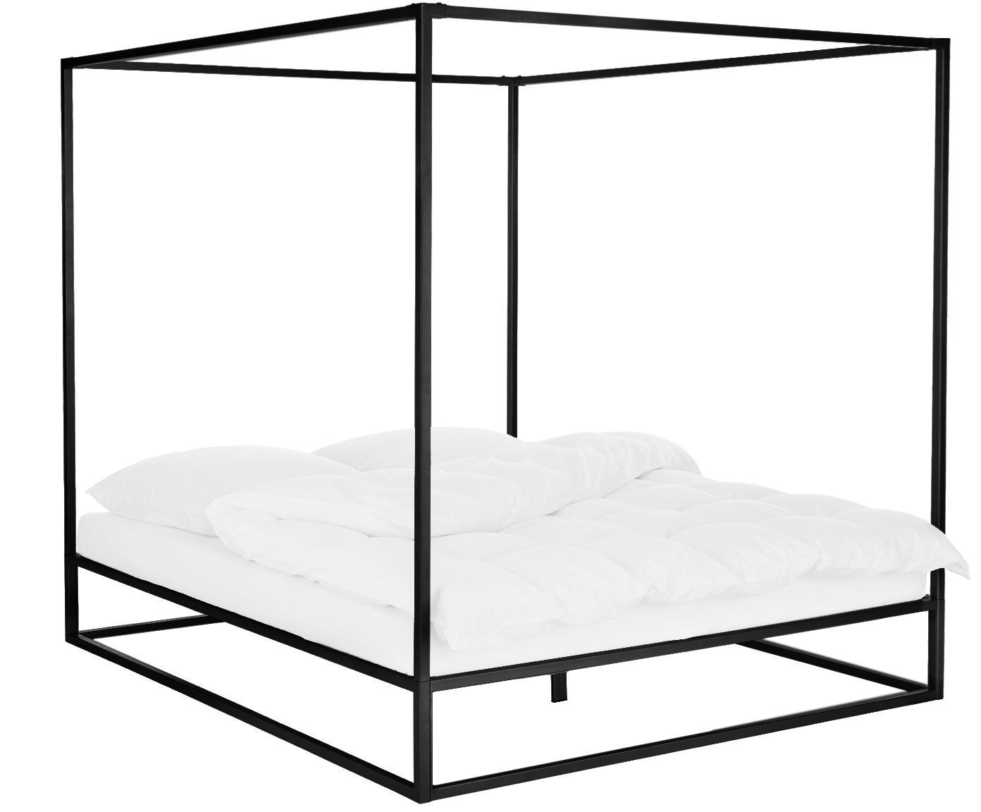Łóżko z baldachimem Belle, Metal malowany proszkowo, Czarny, matowy, 180 x 200 cm