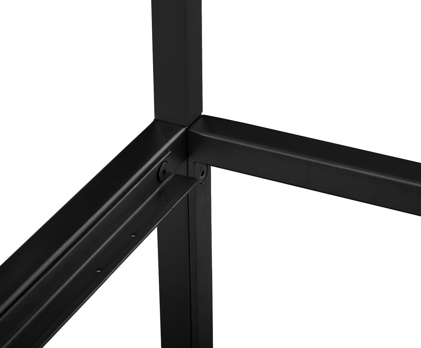 Hemelbed Belle, Gepoedercoat metaal, Mat zwart, 180 x 200 cm