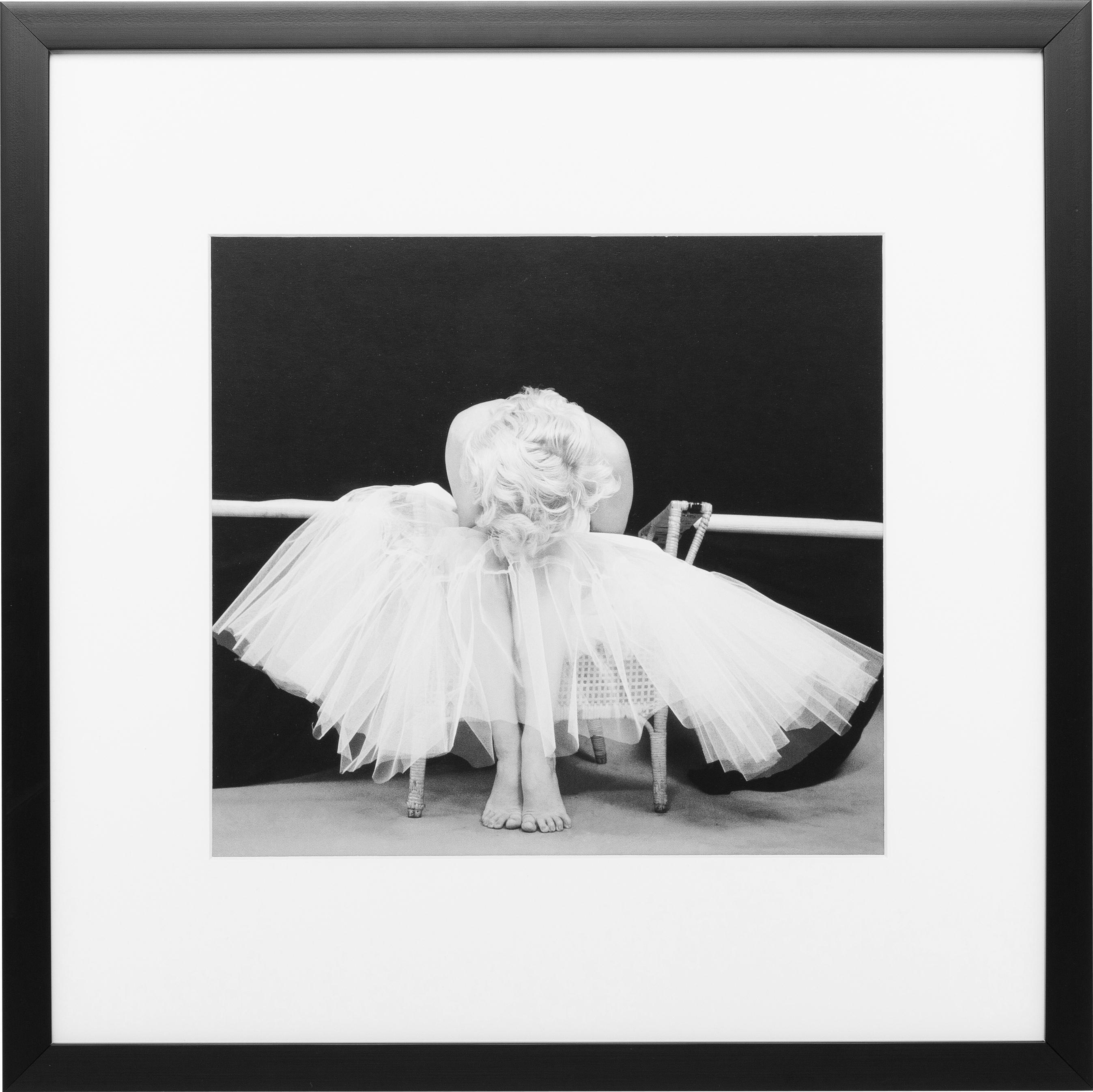 Oprawiony druk cyfrowy Ballerina, Stelaż: tworzywo sztuczne, Ilustracja: czarny, biały Stelaż: czarny, S 40 x W 40 cm