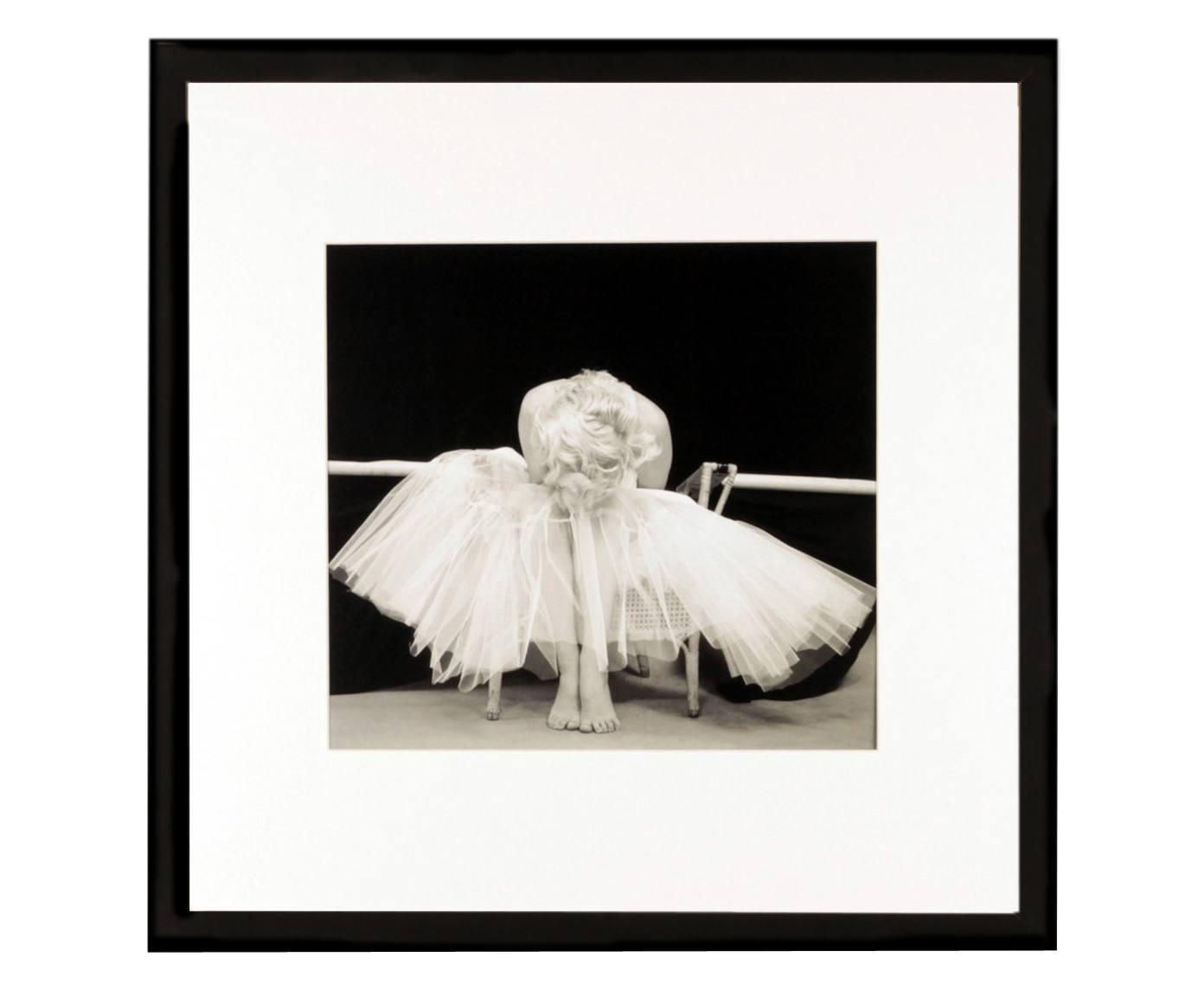 Gerahmter Digitaldruck Ballerina, Bild: Digitaldruck, Rahmen: Kunststoff, Front: Glas, Bild: Schwarz, Weiß<br>Rahmen: Schwarz, 40 x 40 cm