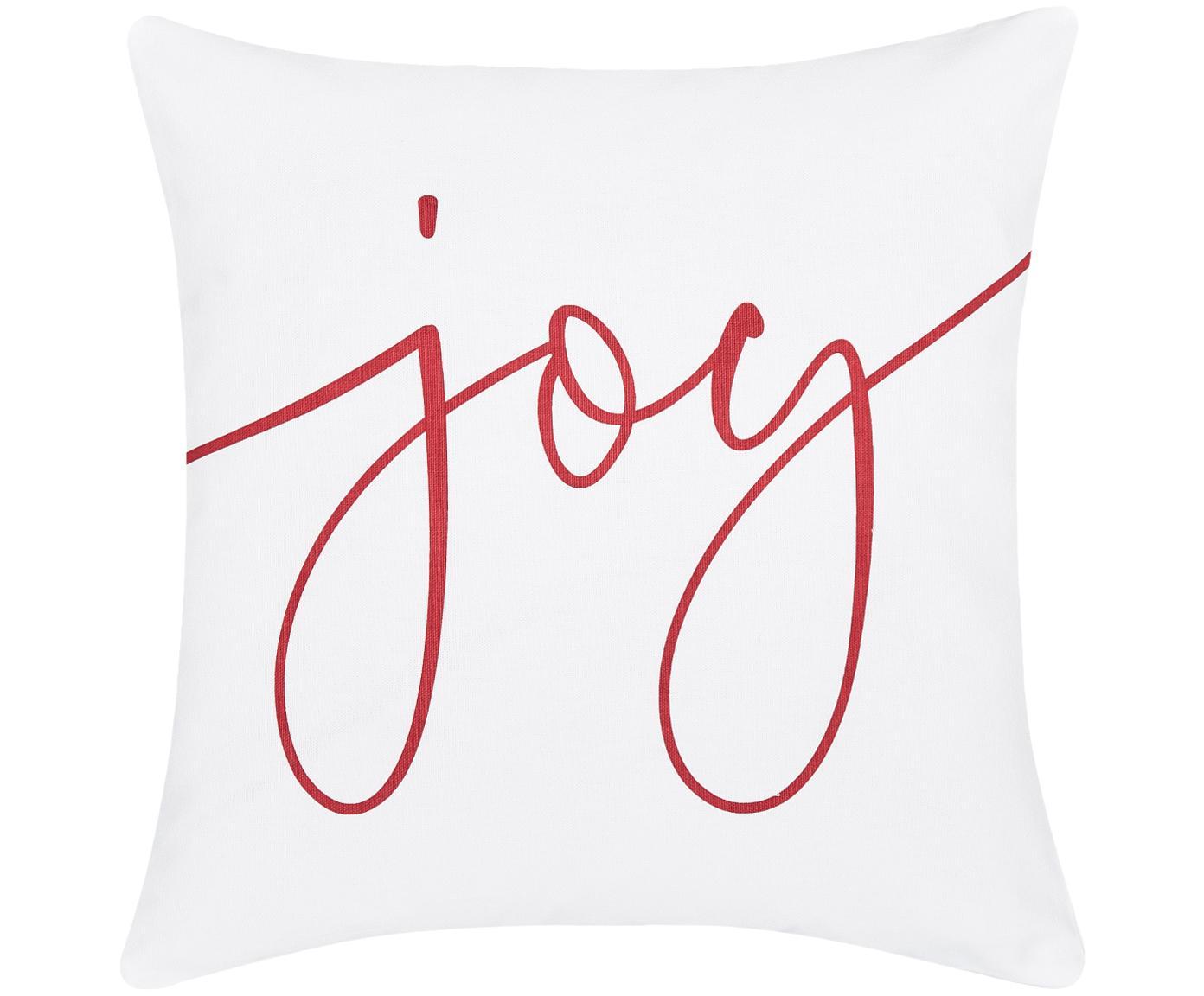 Kissenhülle Joy mit Schriftzug in Weiss-Rot, Baumwolle, Weiss, Rot, 40 x 40 cm