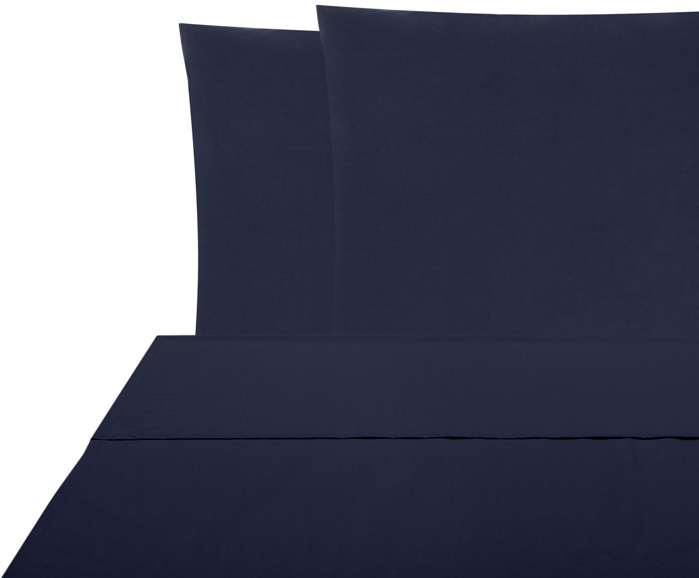 Set lenzuola in percalle Elsie 2 pz, Tessuto: percalle Densità del filo, Blu scuro, 240 x 300 cm