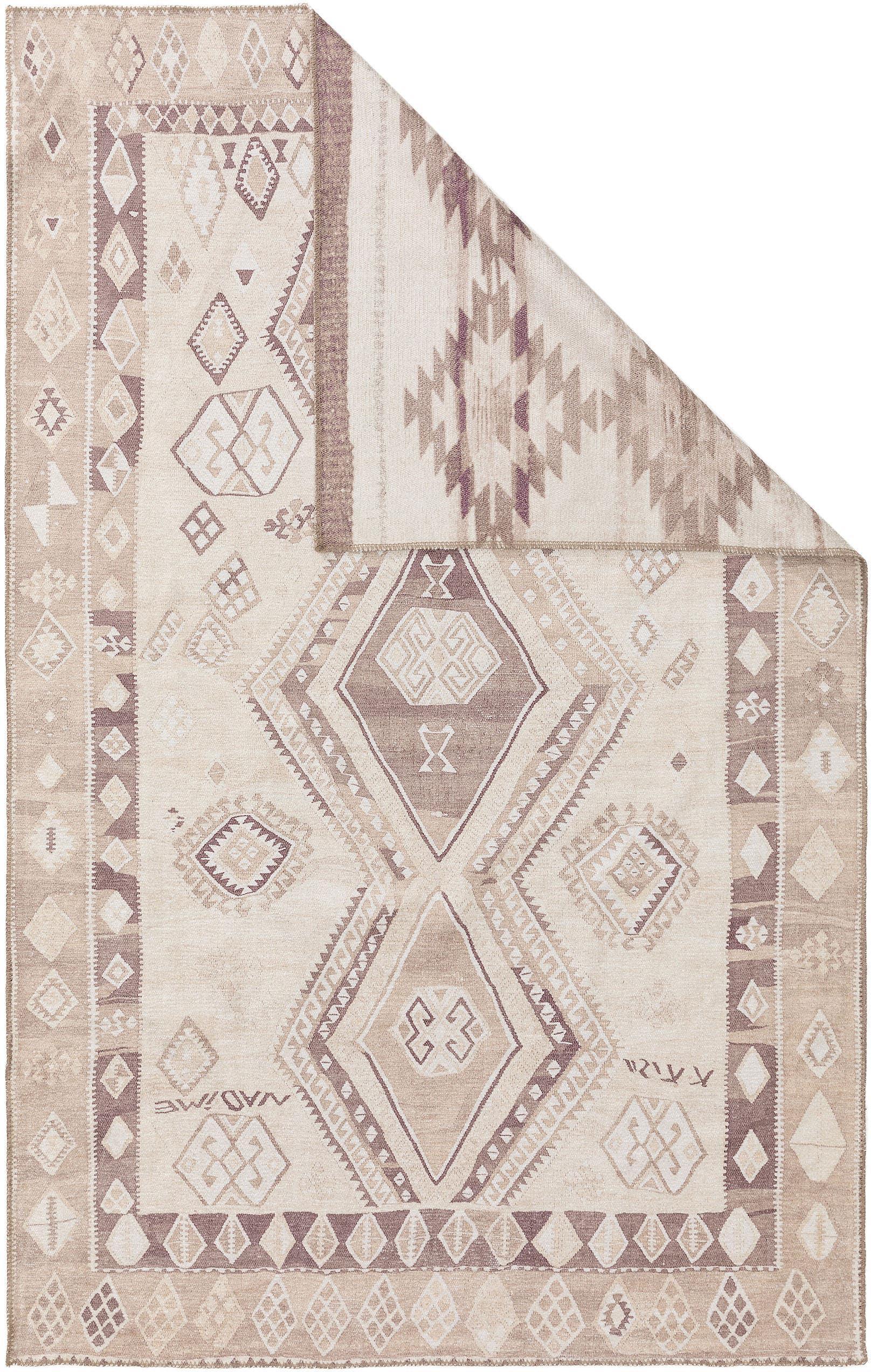 Alfombra kilim reversible Ana Aztec, estilo étnico, 80%poliéster, 20%algodón, Beige, gris pardo, An 75 x L 150 cm (Tamaño XS)