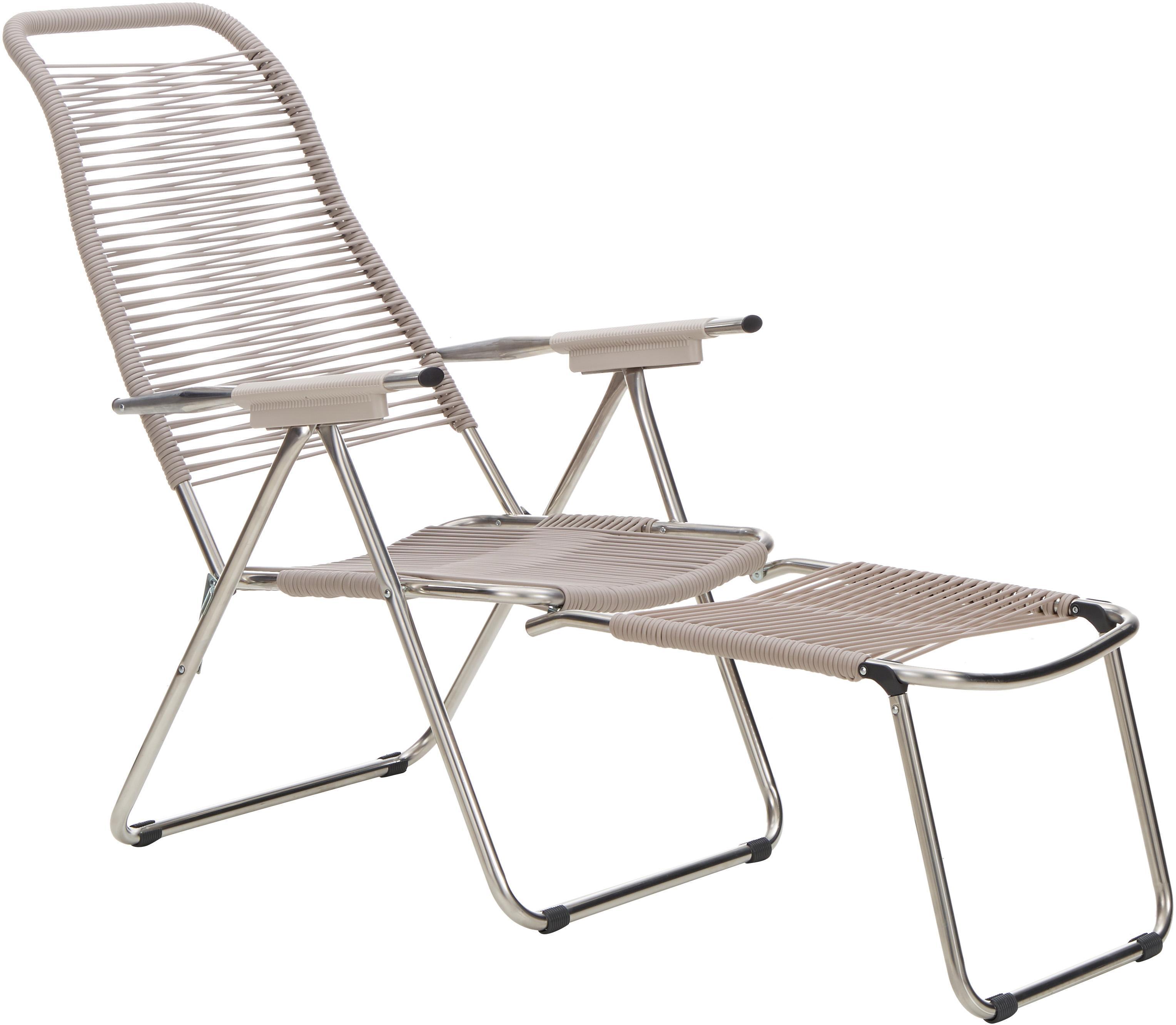 Sedia a sdraio con poggiapiedi Spaghetti, Struttura: alluminio, Rivestimento: nastro di cloruro di poli, Taupe, Larg. 60 x Prof. 48 cm
