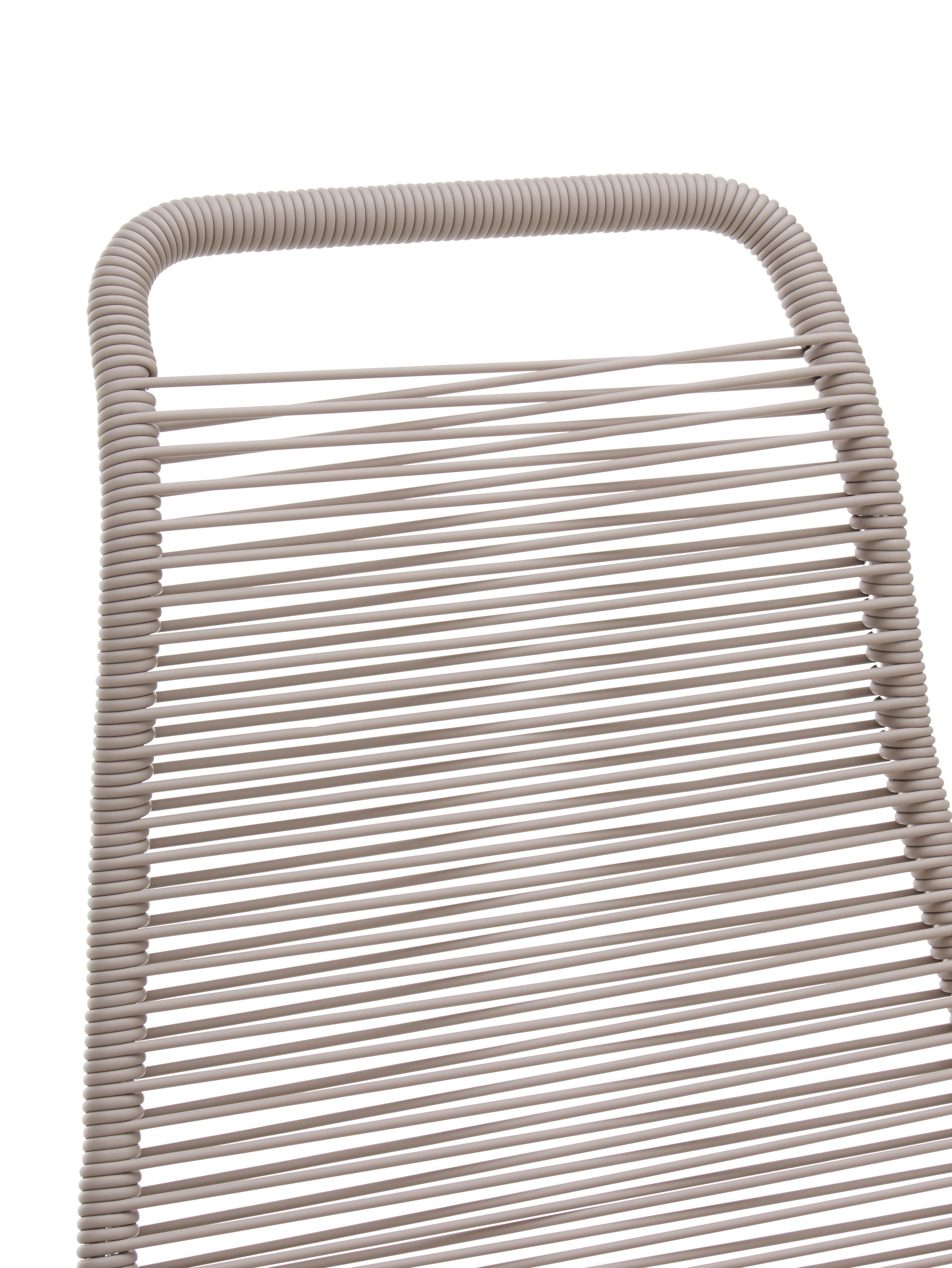 Garten-Liegestuhl Spaghetti mit Fußstütze, Gestell: Aluminium, Taupe, B 60 x T 48 cm