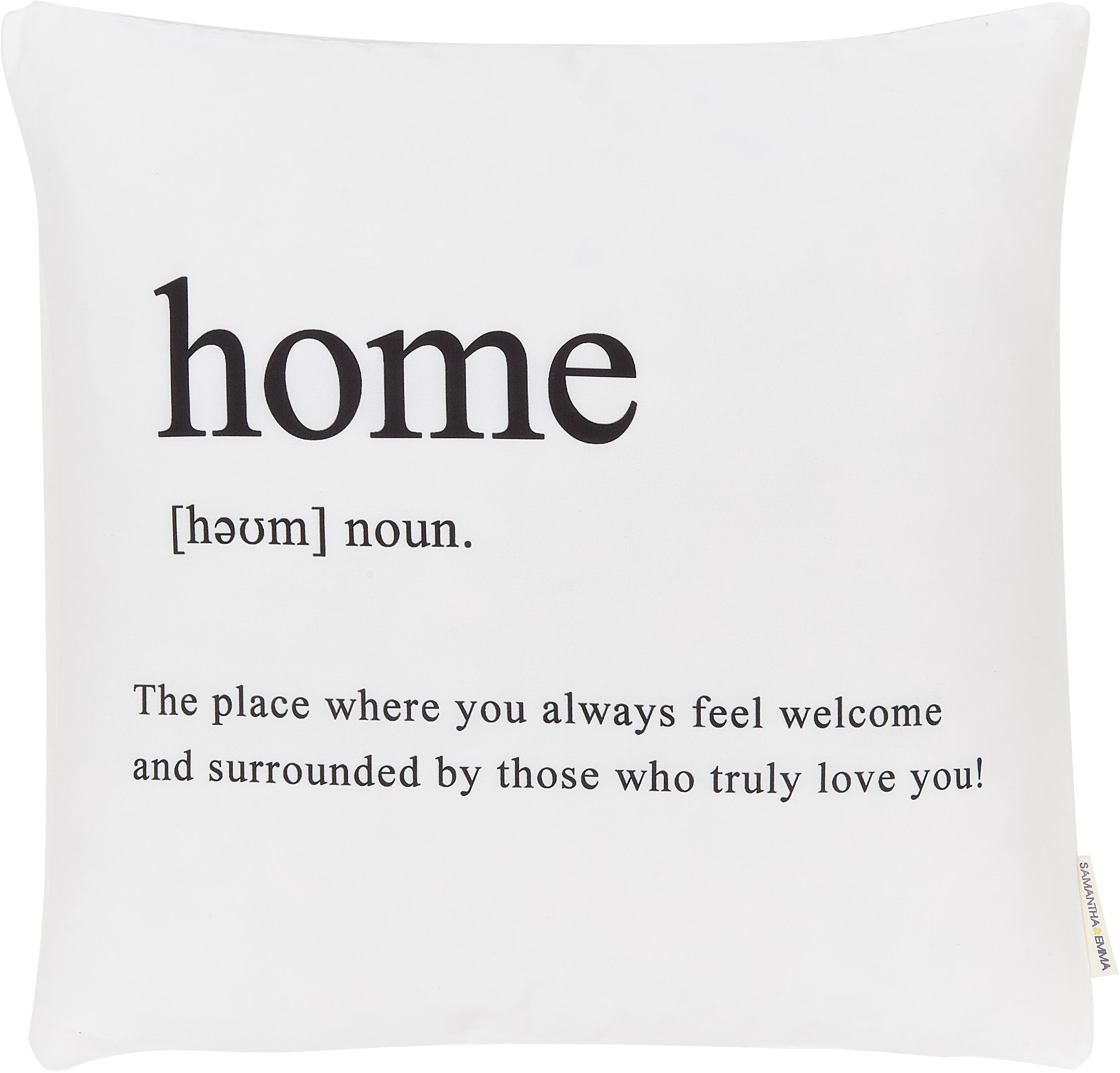 Kissenhülle Home mit Schriftzug in Schwarz/Weiss, 100% Polyester, Schwarz, Weiss, 45 x 45 cm