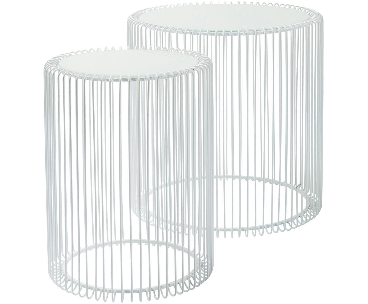 Komplet stolików pomocniczych z metalu ze szklanym blatem Wire, 2 elem., Stelaż: metal malowany proszkowo, Blat: szkło hartowane foliowane, Biały, Różne rozmiary