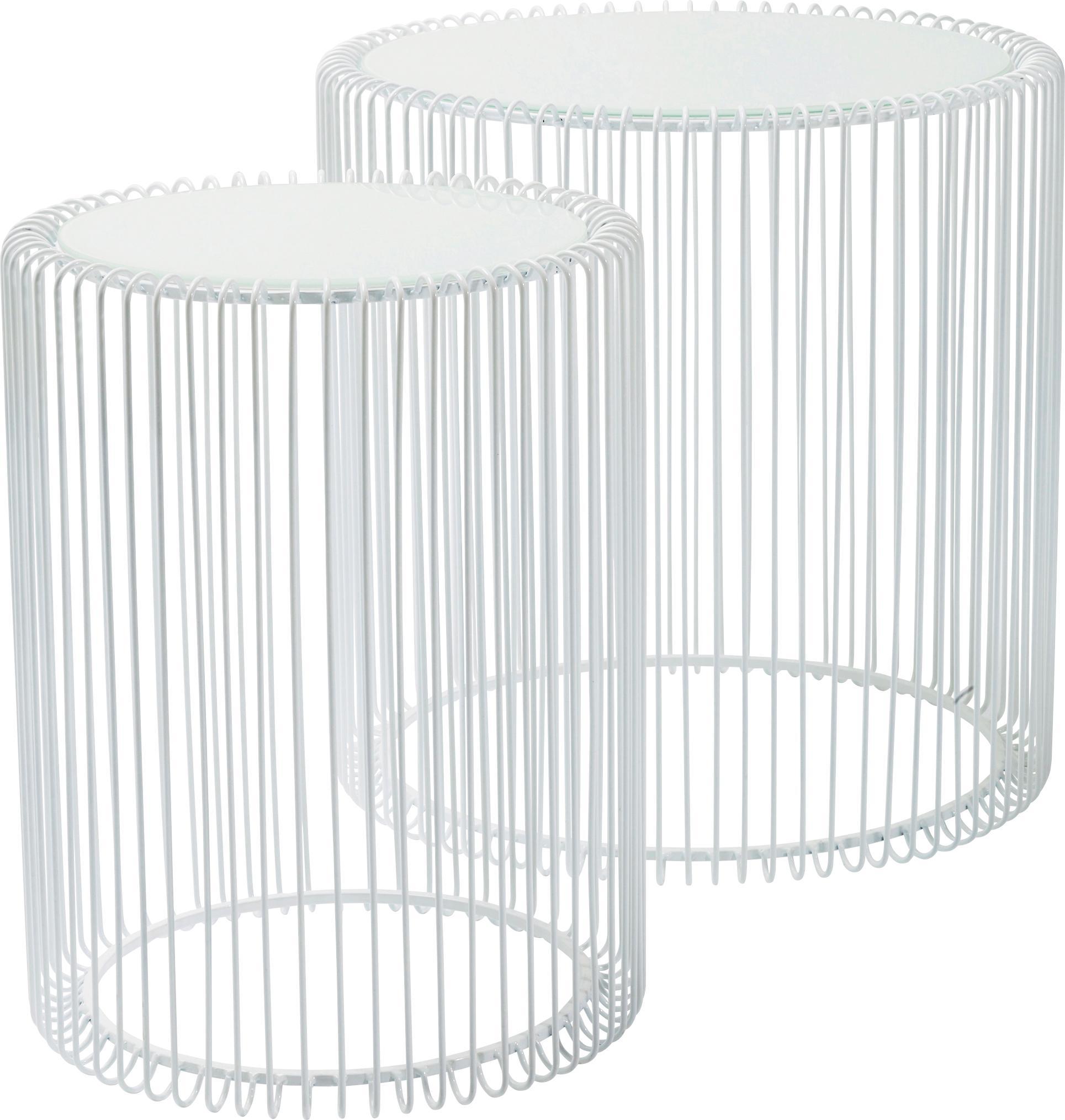 Metall-Beistelltisch 2er-Set Wire mit Glasplatte, Gestell: Metall, pulverbeschichtet, Tischplatte: Sicherheitsglas, foliert, Weiss, Set mit verschiedenen Grössen