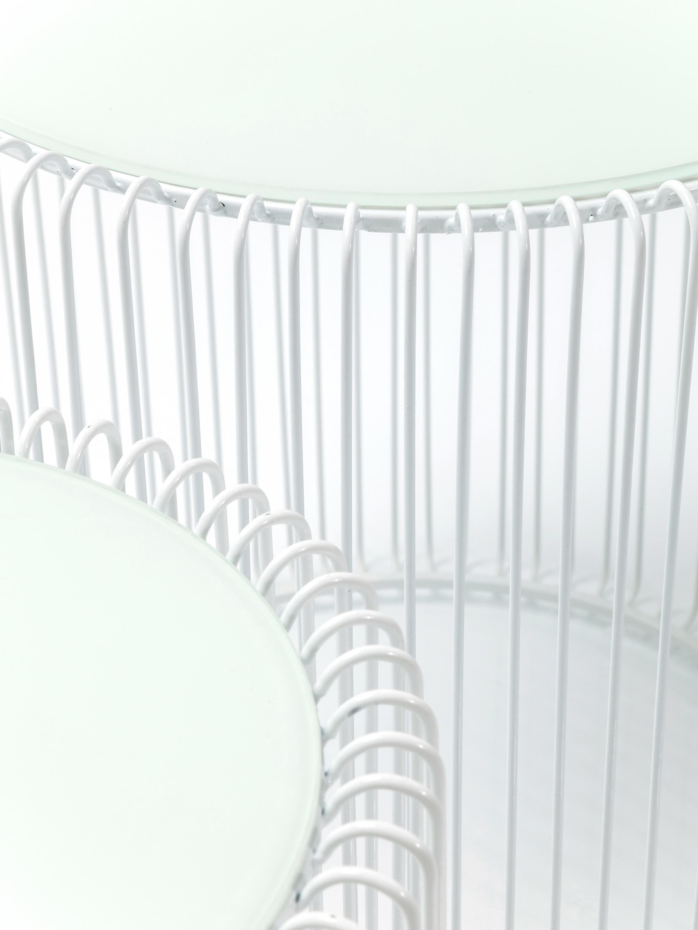 Metall-Beistelltisch 2er-Set Wire mit Glasplatte, Gestell: Metall, pulverbeschichtet, Tischplatte: Sicherheitsglas, foliert, Weiß, Sondergrößen