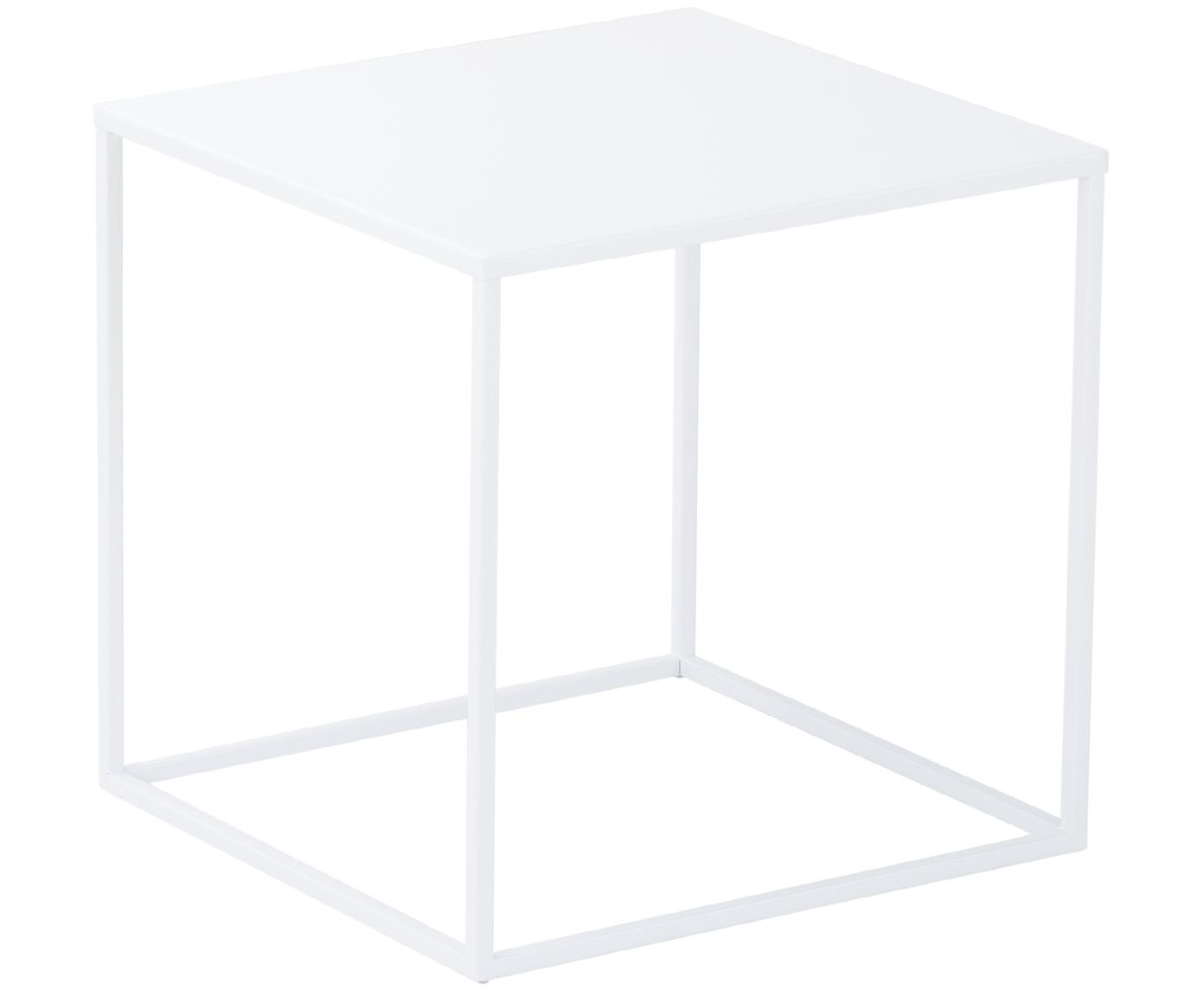 Tavolino in metallo bianco Stina, Metallo verniciato a polvere, Bianco opaco, Larg. 45 x Alt. 45 cm
