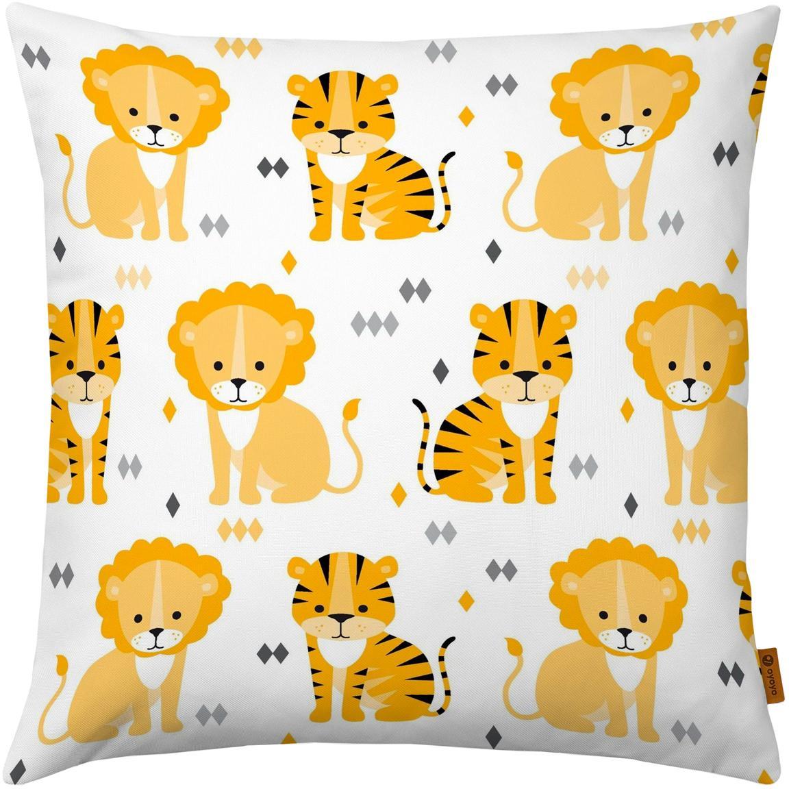 Kussenhoes Lion and Tiger, Katoen, Wit, geel, oranje, grijs, zwart, 40 x 40 cm
