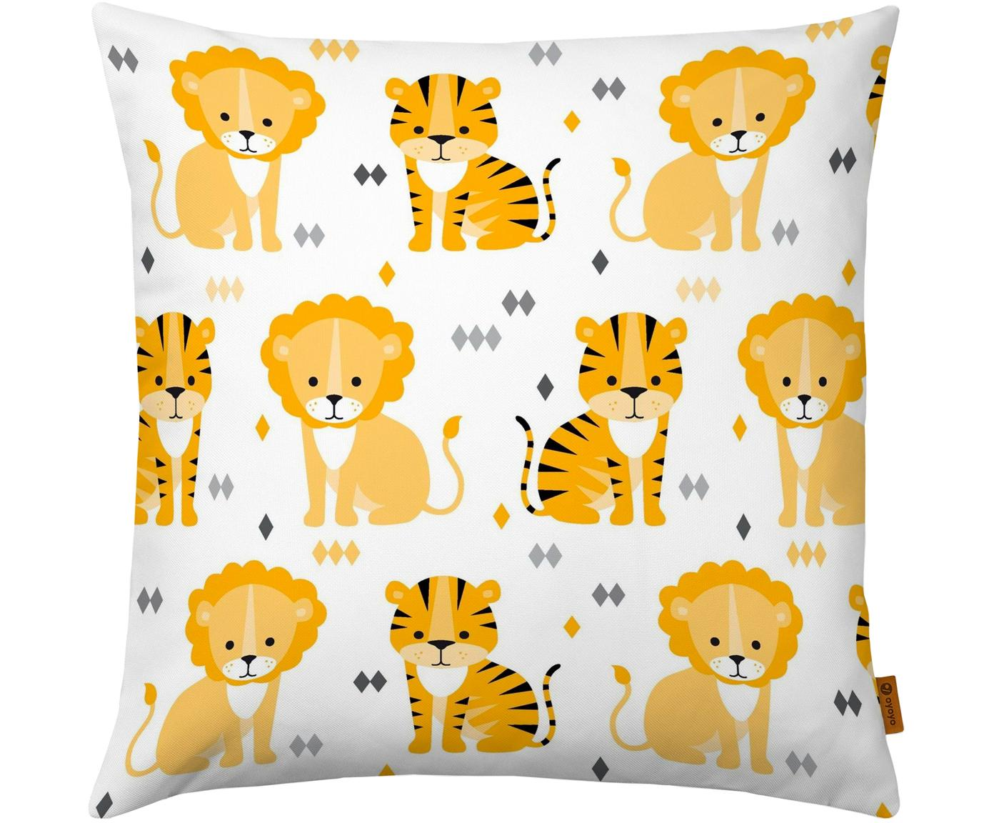 Kissenhülle Lion and Tiger, Baumwolle, Weiss, Gelb, Orange, Grau, Schwarz, 40 x 40 cm