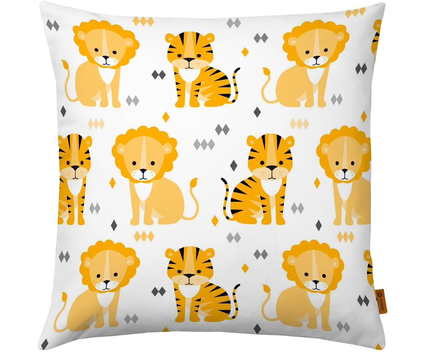 Poszewka na poduszkę Lion and Tiger, Bawełna, Biały, żółty, pomarańczowy, szary, czarny, S 40 x D 40 cm