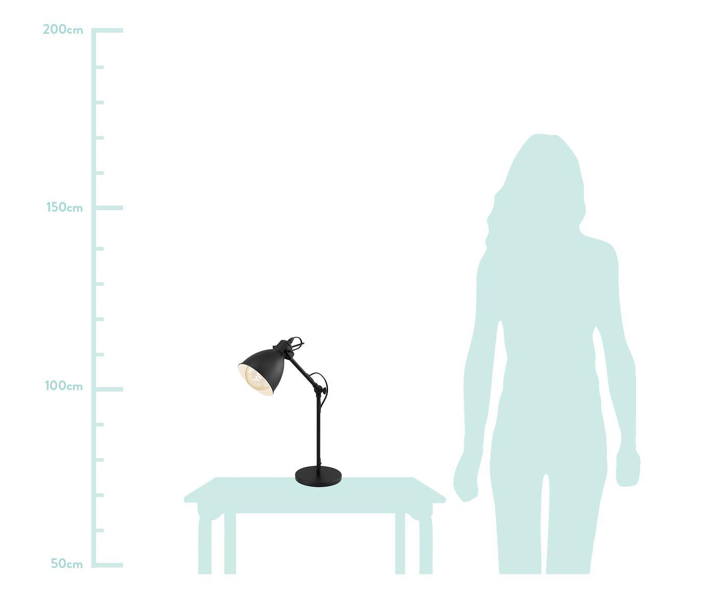 Tafellamp Ethan, Lampenkap: gepoedercoat metaal, Lampvoet: gepoedercoat metaal, Zwart, Ø 15 x H 43 cm