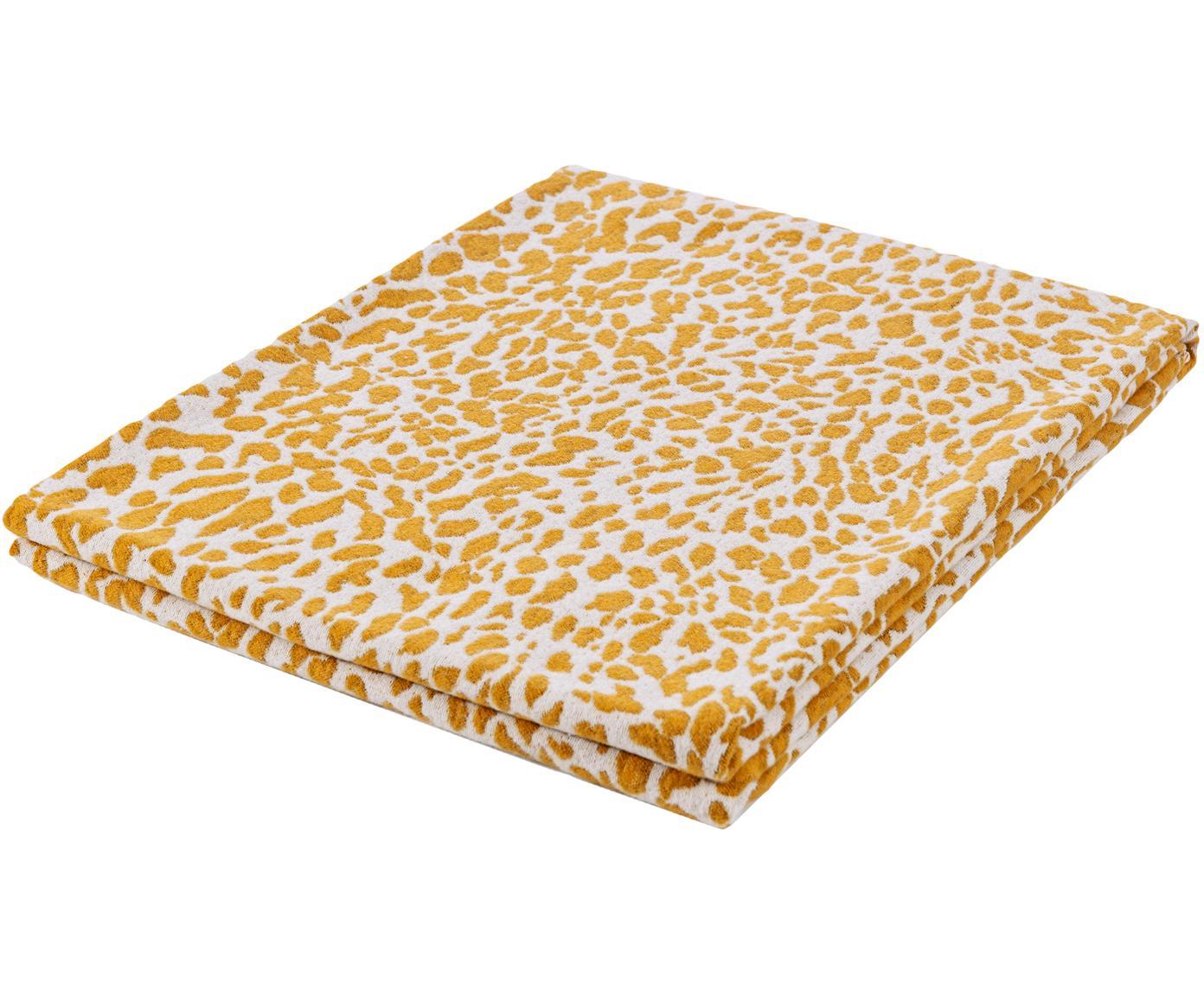 Plaid Leopardo mit gelb/weißem Muster, Webart: Jacquard, Senfgelb, Weiß, 140 x 180 cm