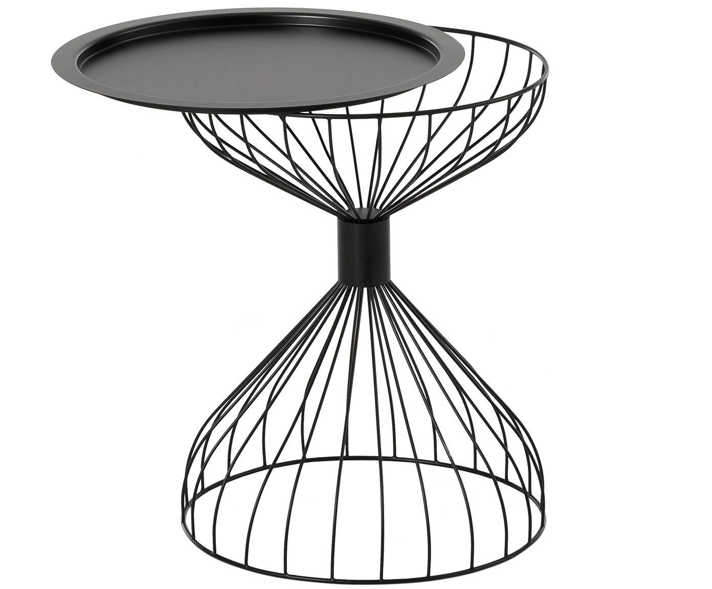 Stolik-taca  Marmaris, Metal malowany proszkowo, Czarny, matowy, Ø 50 x W 58 cm