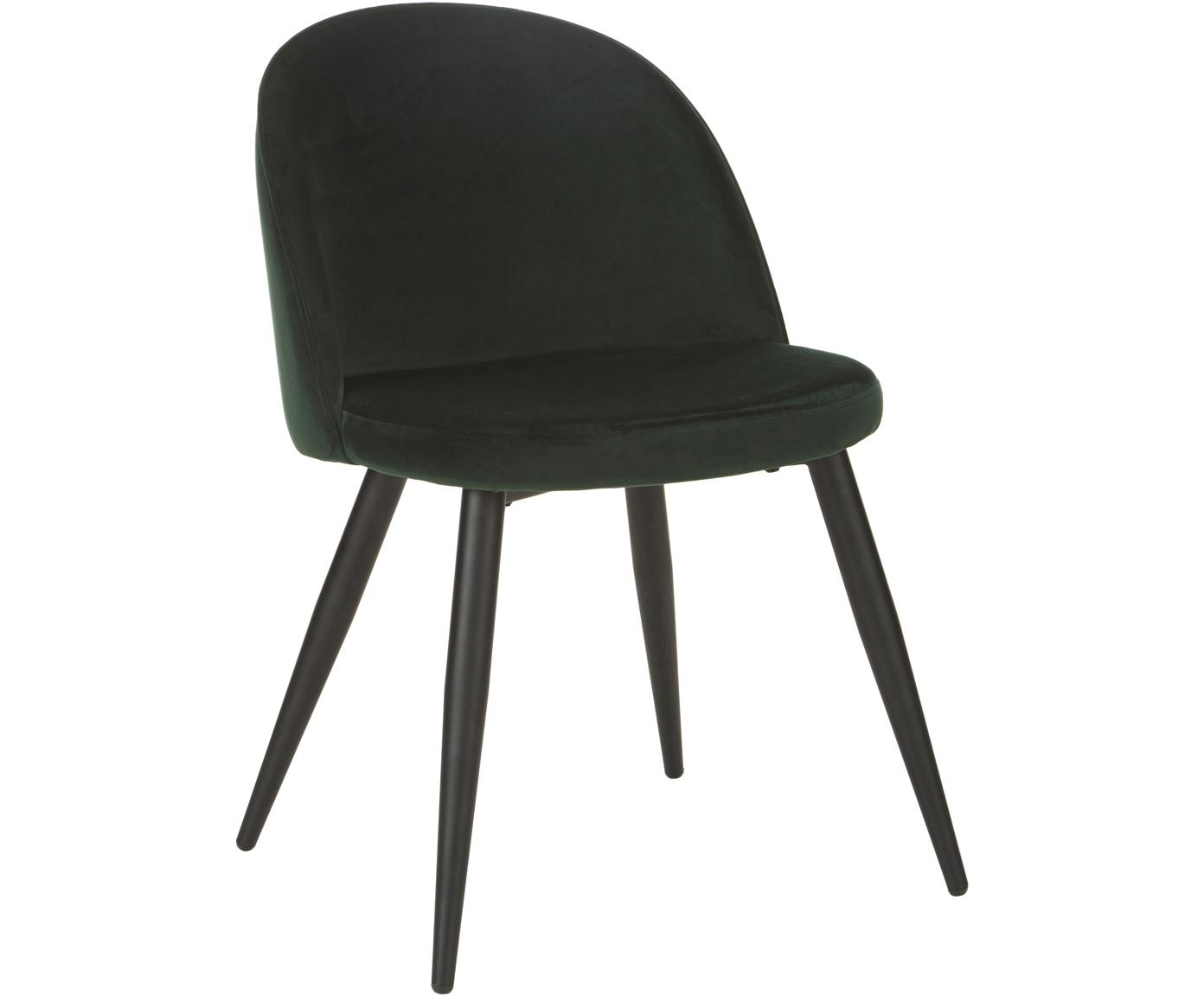 Moderne fluwelen stoelen Amy, 2 stuks, Bekleding: fluweel (polyester), Poten: gepoedercoat metaal, Groen, B 47 x D 55 cm