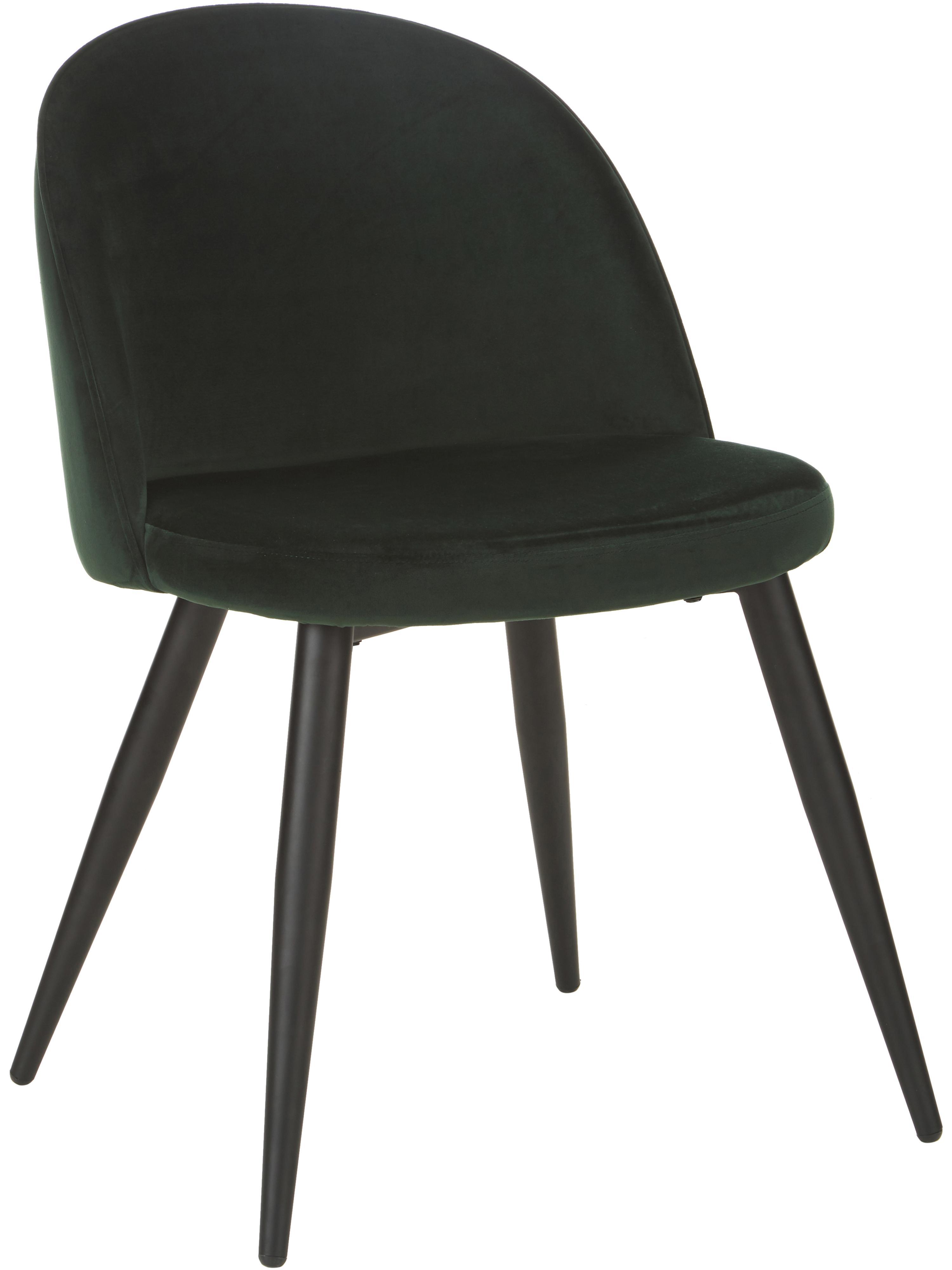 Moderne Samt-Polsterstühle Amy, 2 Stück, Bezug: Samt (Polyester) 25.000 S, Beine: Metall, pulverbeschichtet, Grün, B 47 x T 55 cm