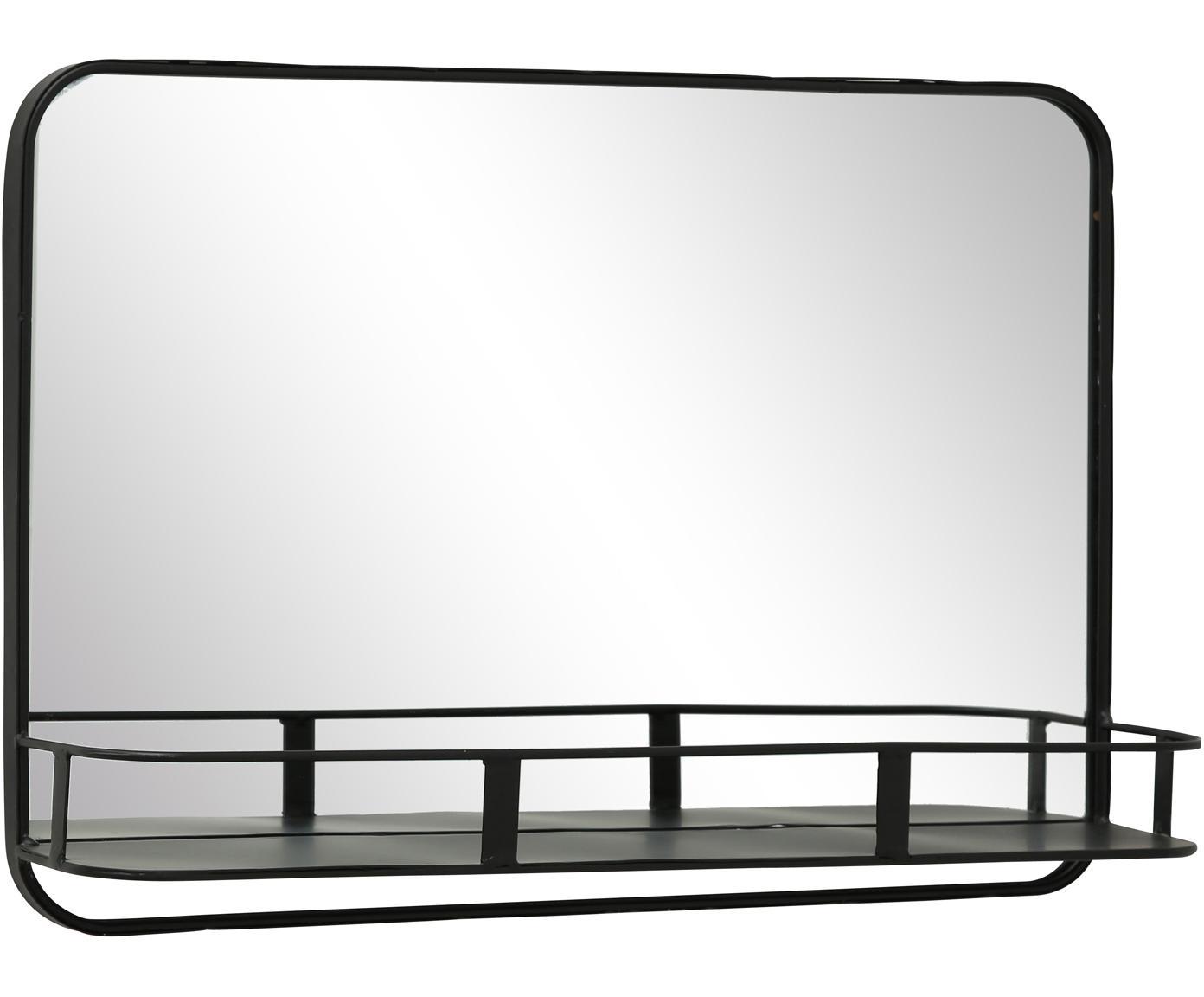 Eckiger Wandspiegel Meno mit Metallrahmen, Metall, Spiegelglas, Schwarz, 50 x 35 cm