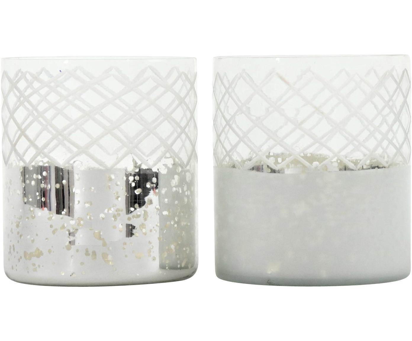 Set de portavelas Lustro, 2pzas., Vidrio, Plateado, transparente, Ø 12 x Al 17 cm