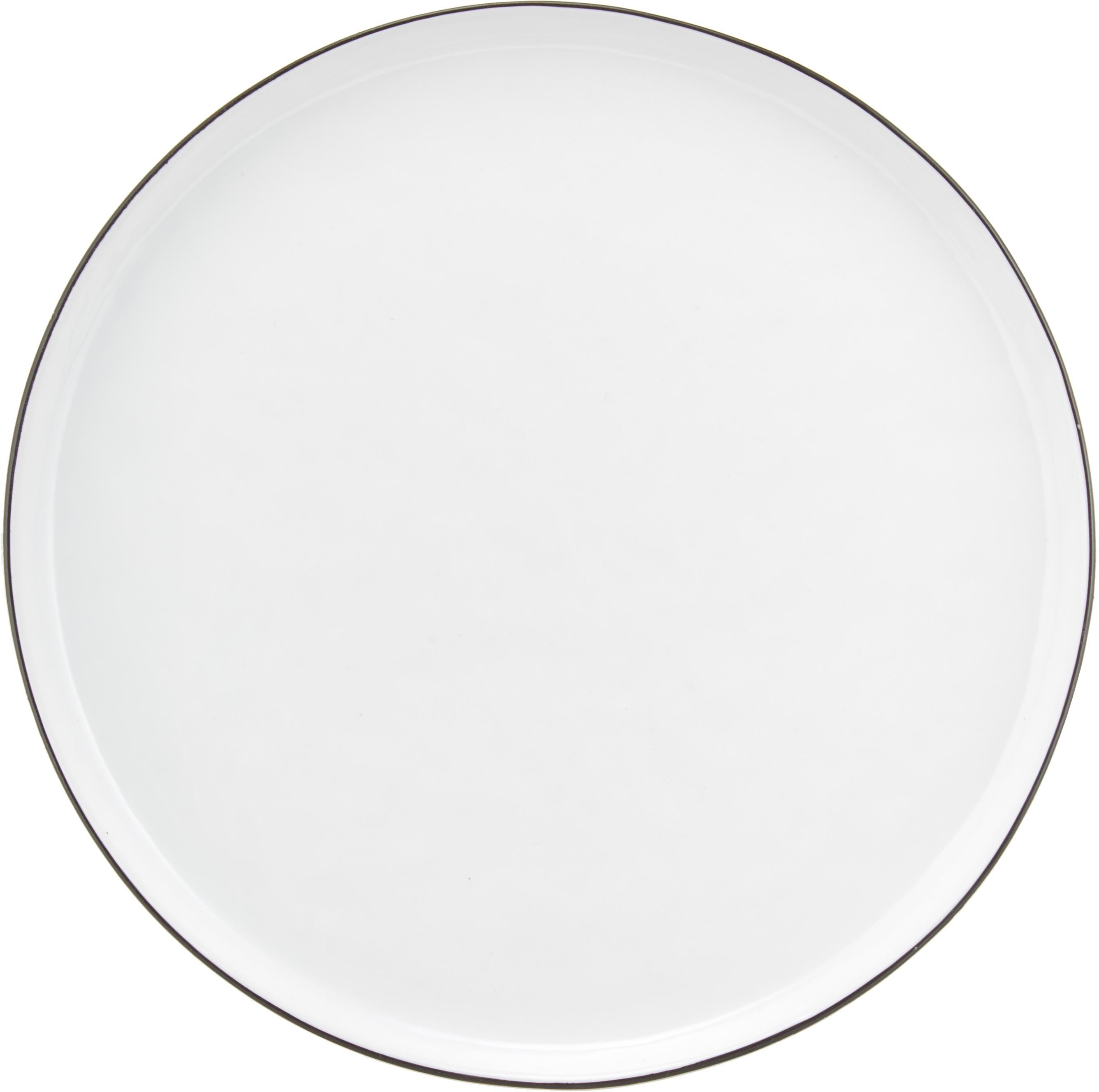 Handgemachtes Frühstücks-Set Salt mit schwarzem Rand, 4 Personen (16-tlg.), Porzellan, Gebrochenes Weiss, Schwarz, Verschiedene Grössen