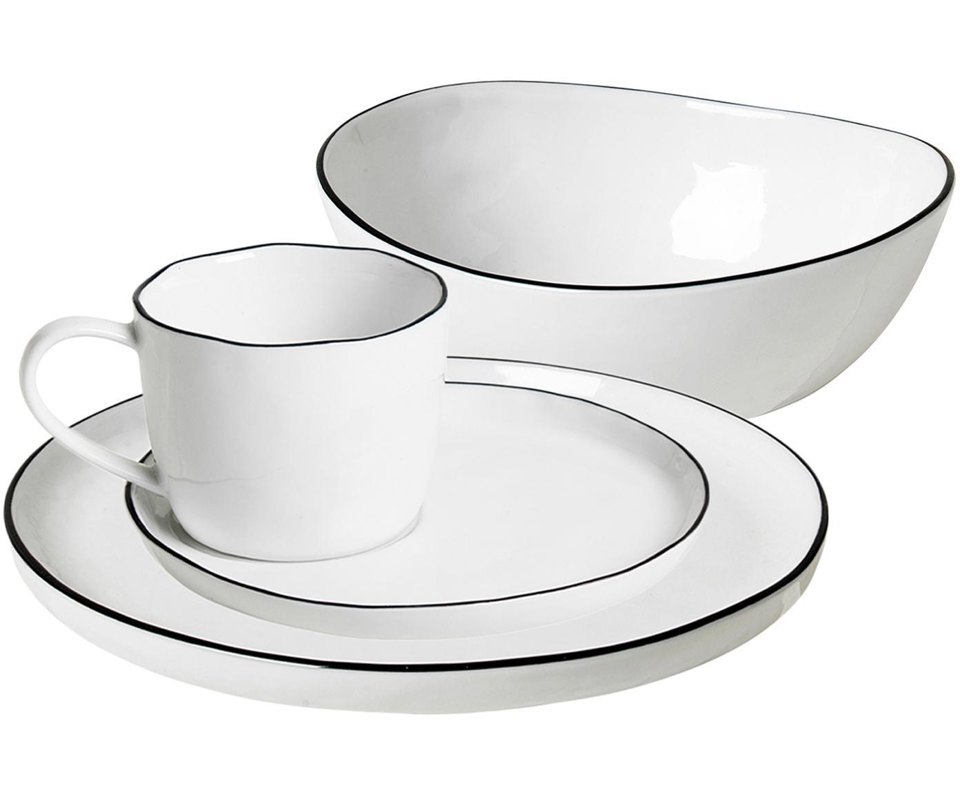 Handgemaakte ontbijtset Salt, 16-delig, Porselein, Gebroken wit, zwart, Verschillende formaten