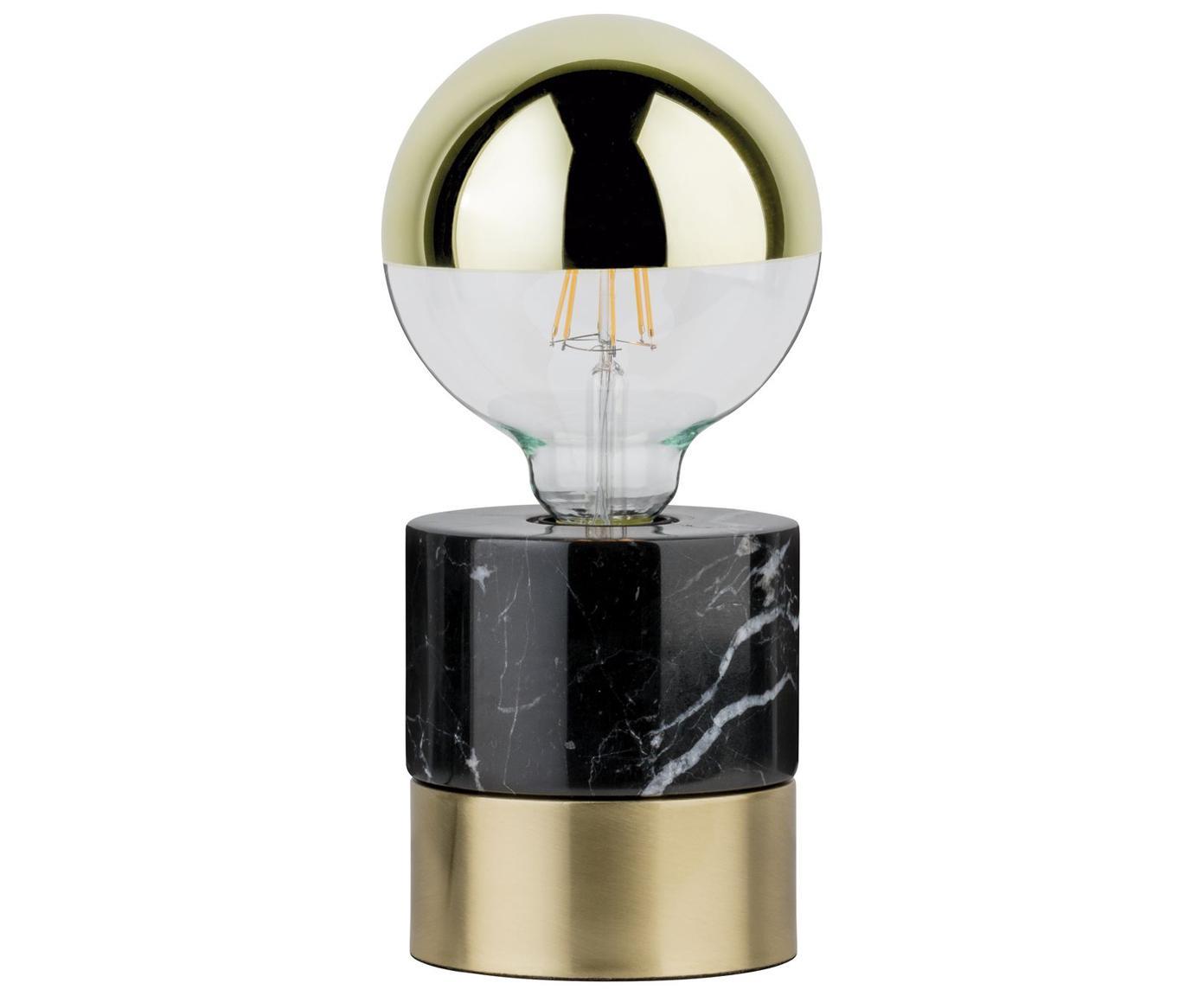 Marmor-Tischlampe Vala in Schwarz-Gold, Schwarz, Messingfarben, Ø 11 x H 12 cm