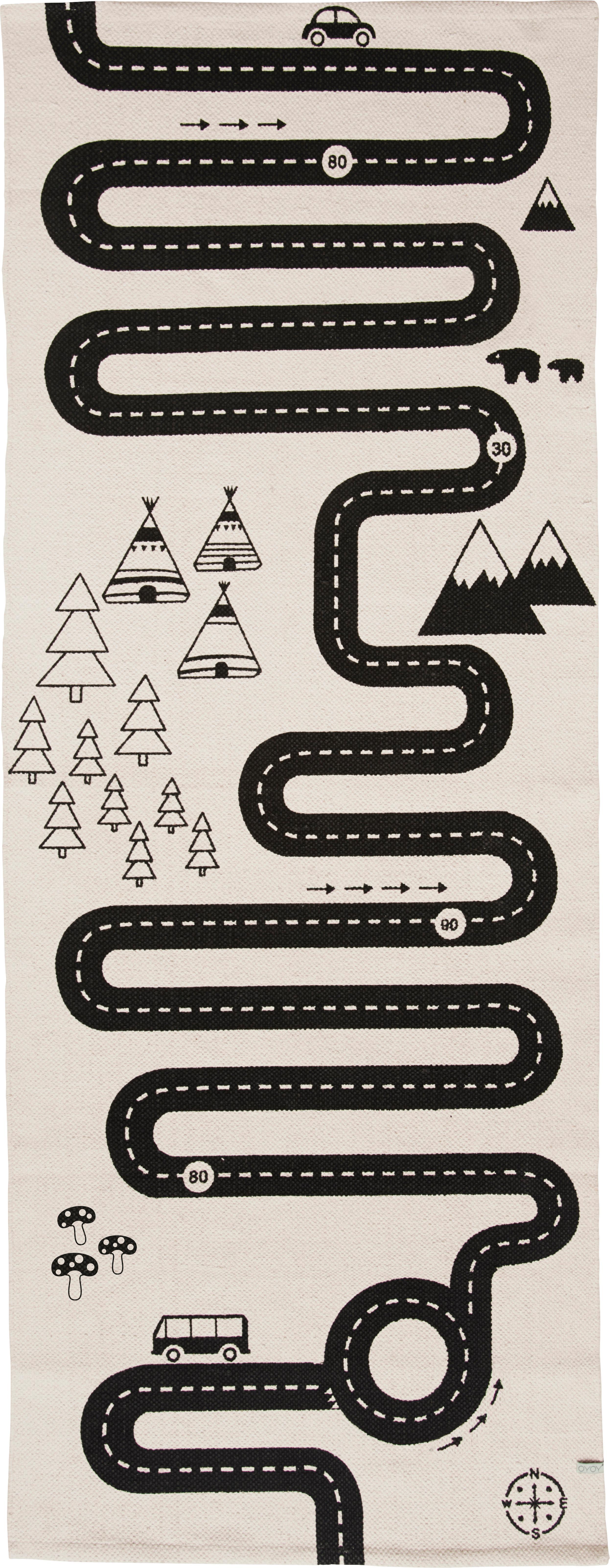 Alfombra Adventure, Algodón, Blanco crudo, negro, An 70 x L 180 cm