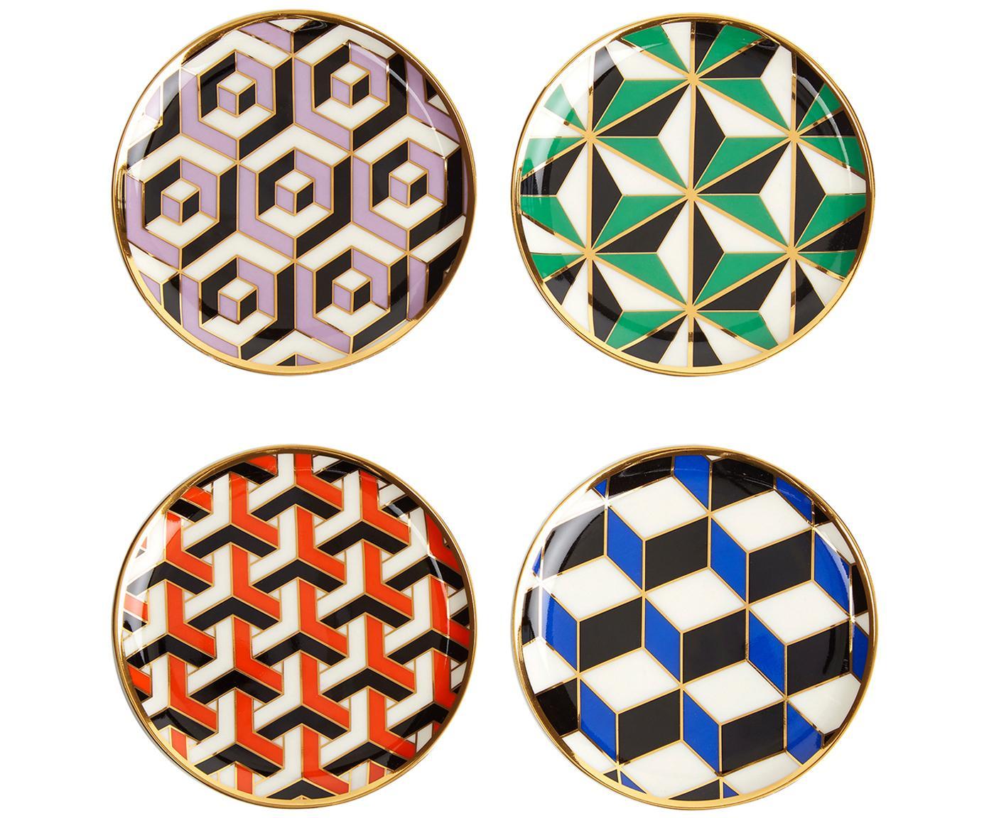 Set de posavasos Versaille, 4pzas., Porcelana, detalles dorados, Multicolor, Ø 10 x Al 1 cm