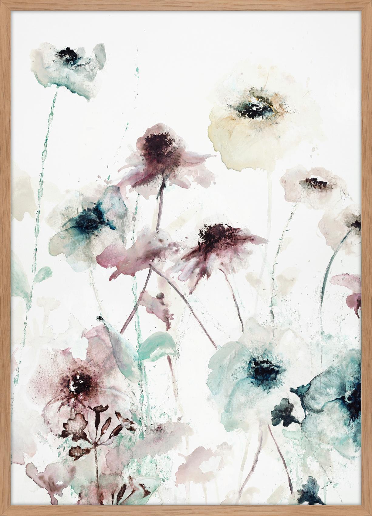 Stampa su tela incorniciata Flower Dance, Immagine: stampa digitale su lino, Cornice: Pannello di fibra ad alta, Multicolore, Larg. 50 x Alt. 70 cm