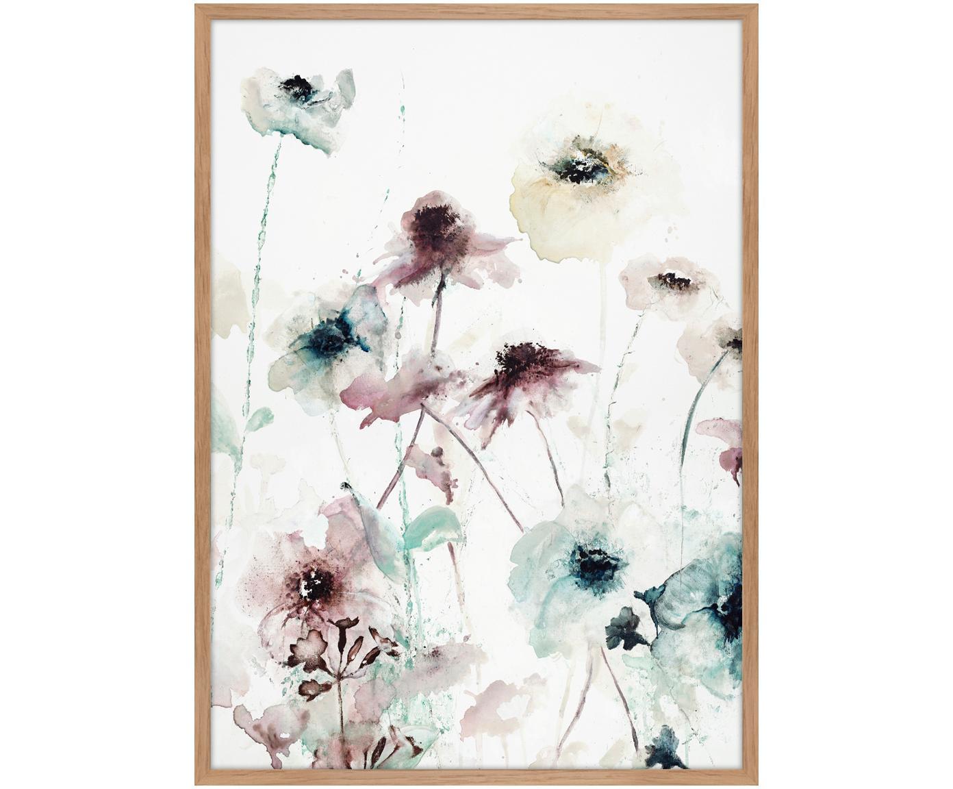 Ingelijste canvasdoek Flower Dance, Afbeelding: digitale print auf linnen, Frame: Vezelplaat met hoge dicht, Multicolour, 50 x 70 cm