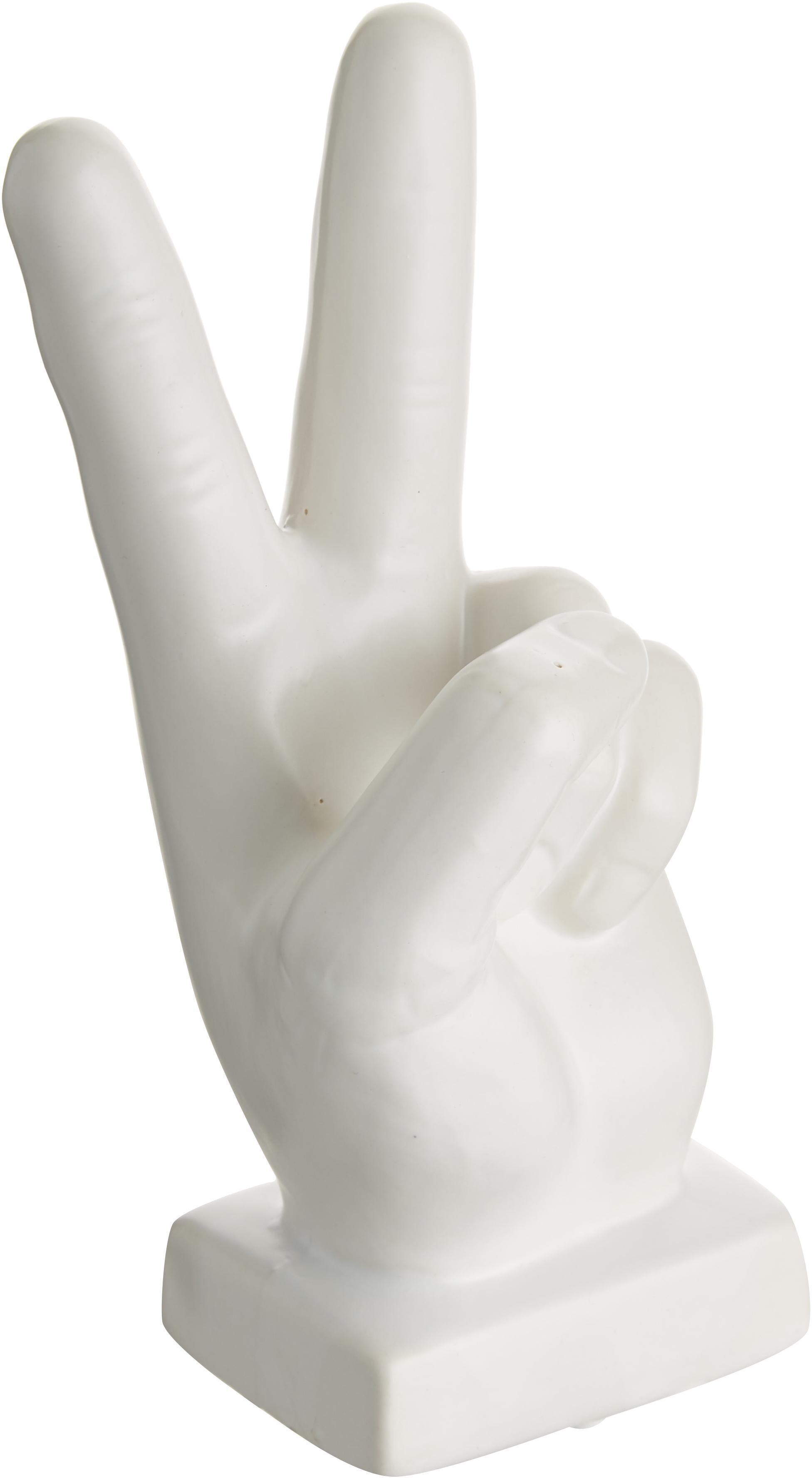 Figura decorativa Hand, Gres, Blanco, An 10 x Al 22 cm