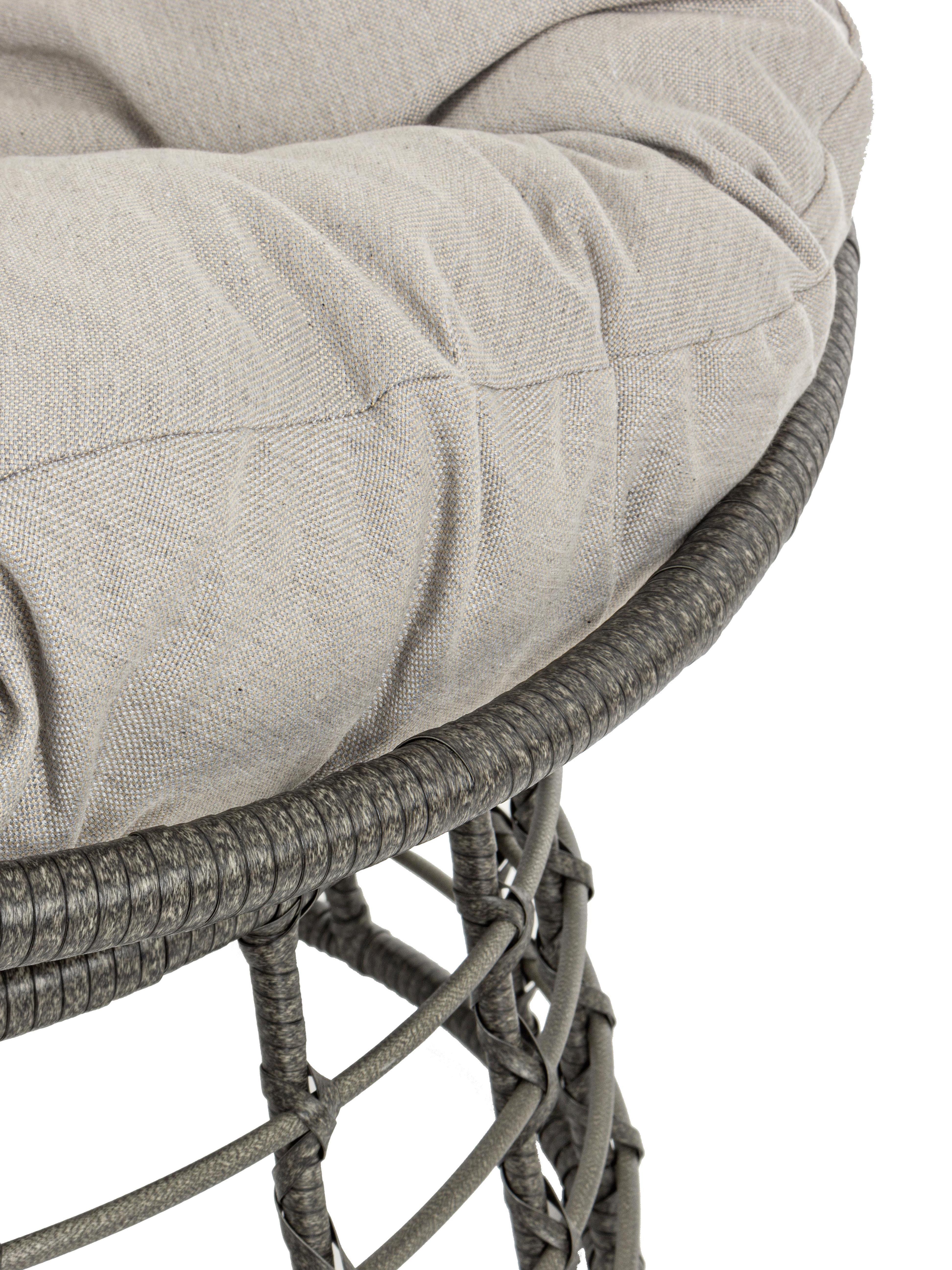 Papasansessel Molly aus Kunststoff-Geflecht und mit Sitzkissen, Gestell: Stahl, pulverbeschichtet, Sitzfläche: Synthetikfasern, Bezug: Polyester, Grau, Hellgrau, Ø 92 x H 78 cm