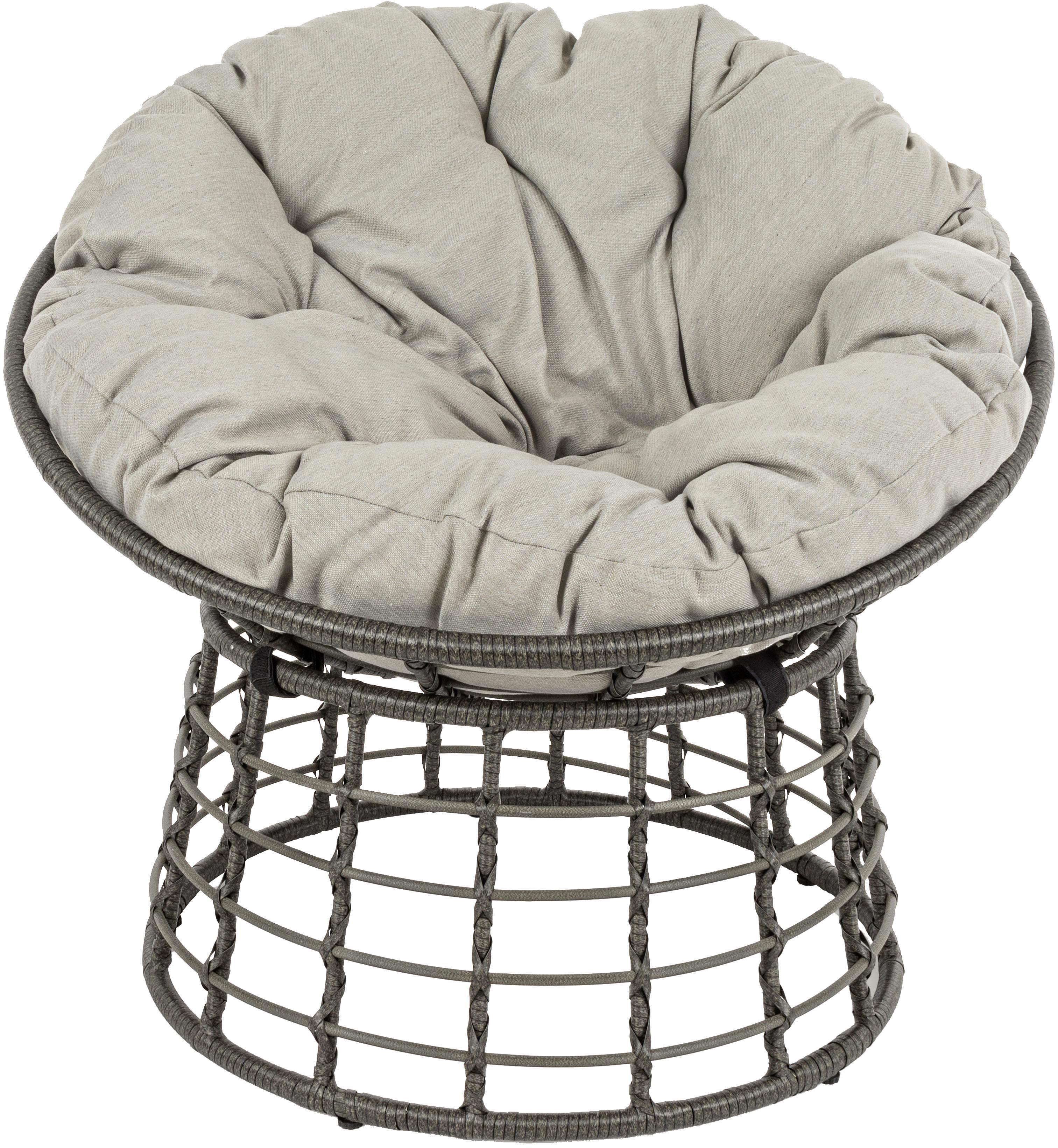 Poltrona da esterno con intreccio e cuscino  Molly, Struttura: acciaio, verniciato a pol, Seduta: fibre sintetiche, Rivestimento: poliestere, Grigio, grigio chiaro, Ø 92 x Alt. 78 cm
