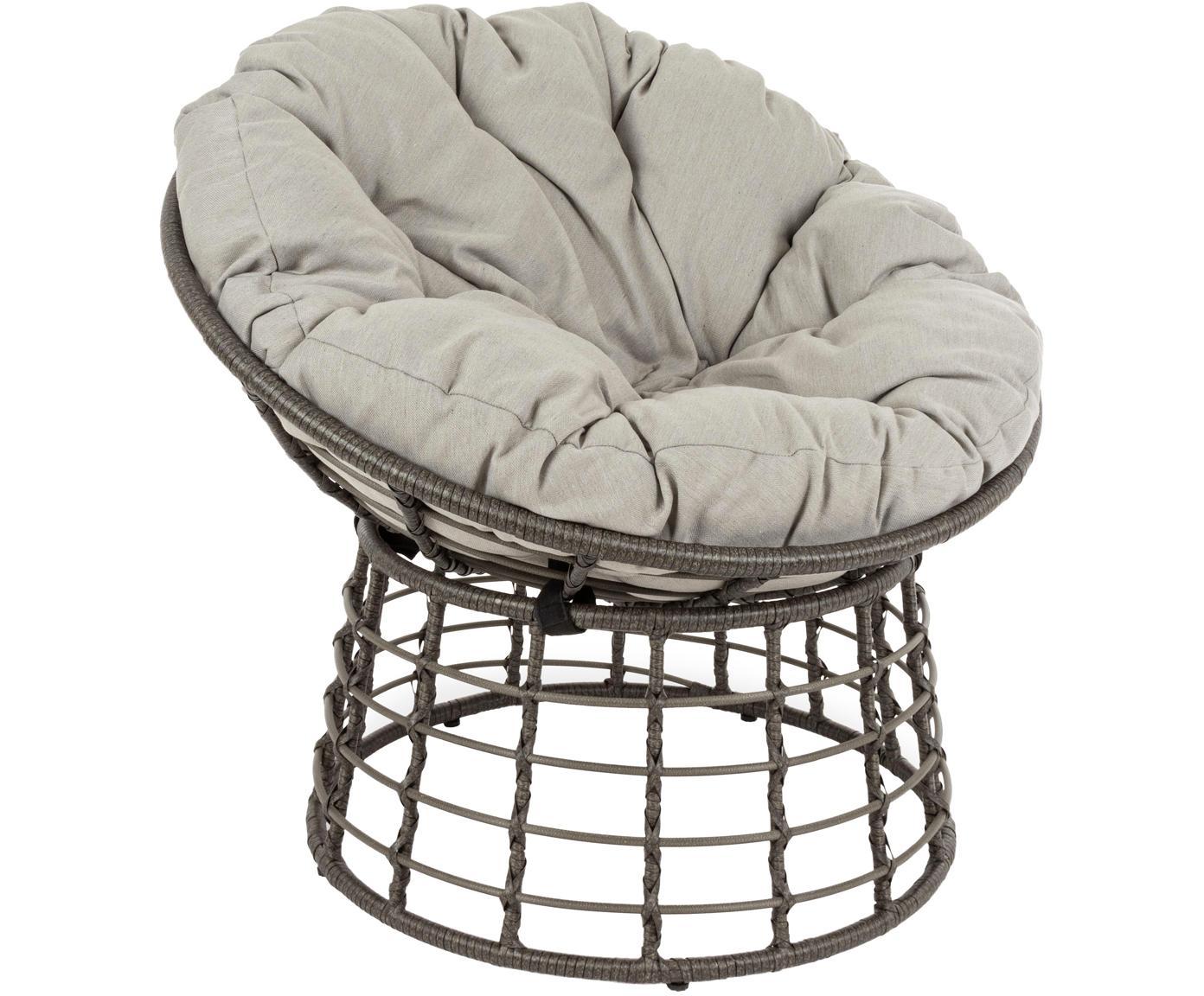 Fotel z tworzywa sztucznego z poduszką na siedzisko Molly, Stelaż: stal malowana proszkowo, Tapicerka: poliester, Szary, jasny szary, Ø 92 x W 78 cm