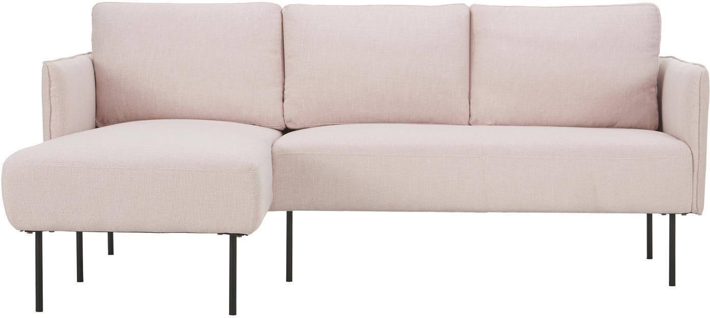 Divano angolare in tessuto rosa Ramira, Rivestimento: poliestere 40.000 cicli d, Struttura: legno di pino massiccio, , Piedini: metallo, verniciato a pol, Tessuto rosa, Larg. 192 x Prof. 136 cm