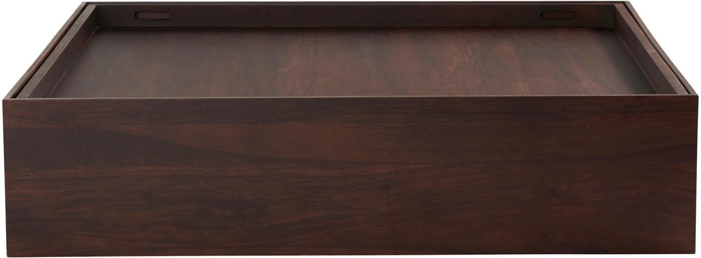 Couchtisch Graham mit Stauraumfunktion, Mangoholz, beschichtet, Braun, 120 x 28 cm