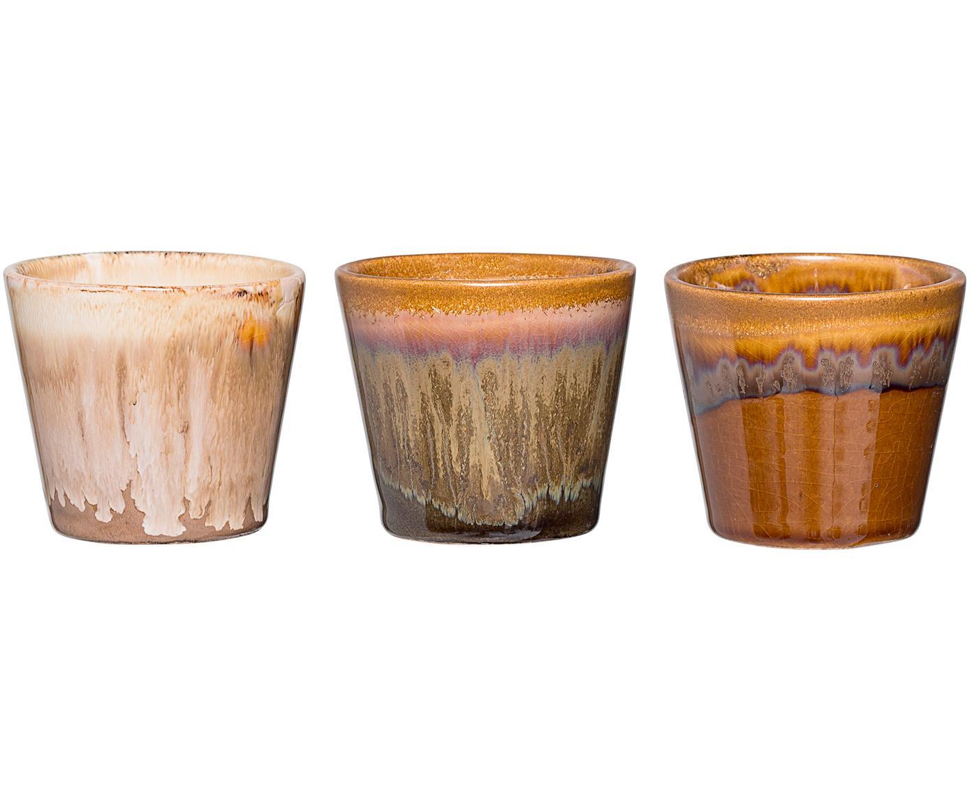 Handgefertigtes Teelichthalter-Set Kuna, 3-tlg., Steingut, Mehrfarbig, Ø 8 x H 7 cm