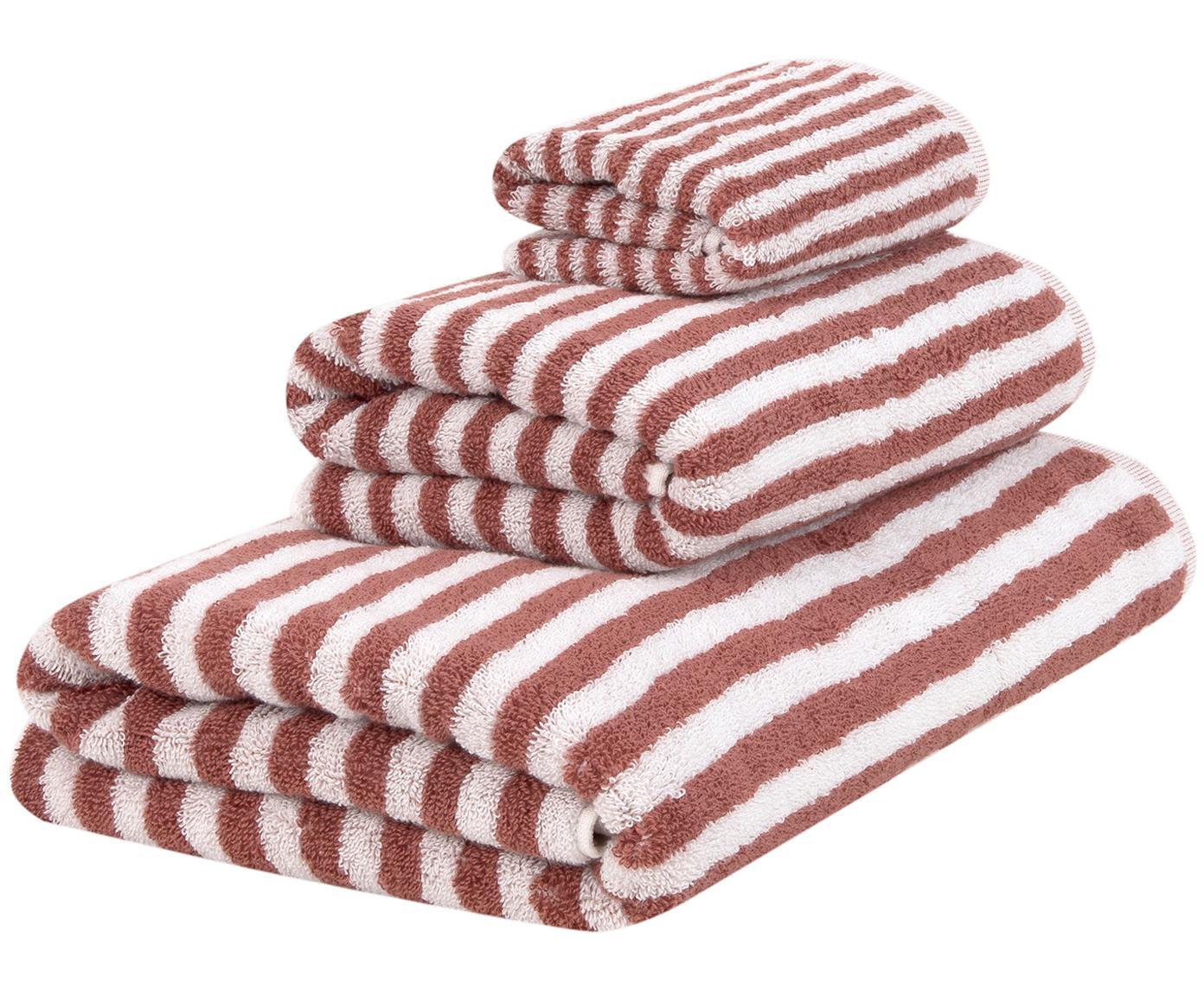 Set asciugamani reversibili Viola 3 pz, 100% cotone, qualità media 550 g/m², Terracotta, bianco crema, Diverse dimensioni