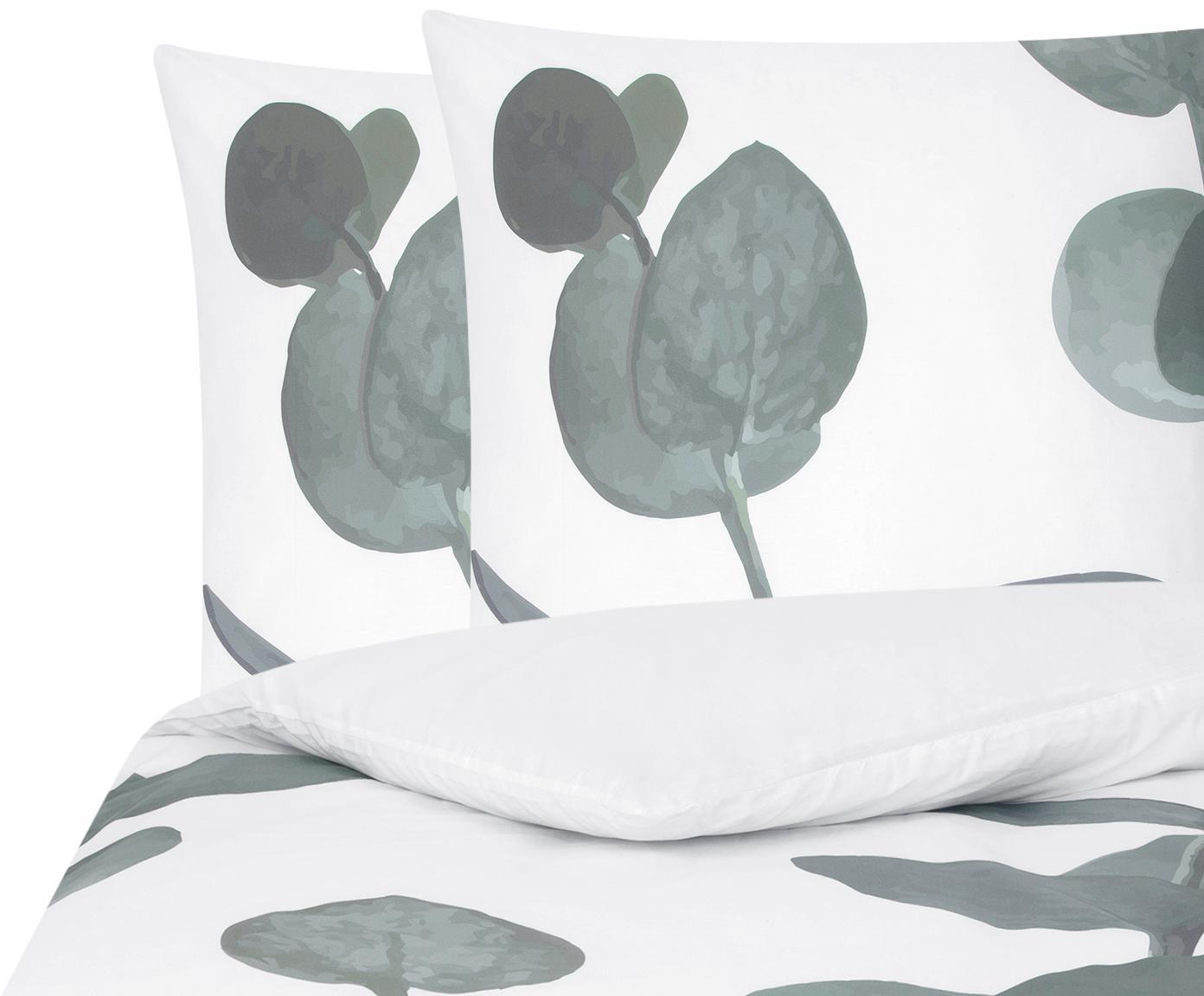 Baumwollperkal-Bettwäsche Eukalyptus mit Blattmotiv, Webart: Perkal Fadendichte 180 TC, Grün, Cremeweiß, 200 x 200 cm + 2 Kissen 80 x 80 cm