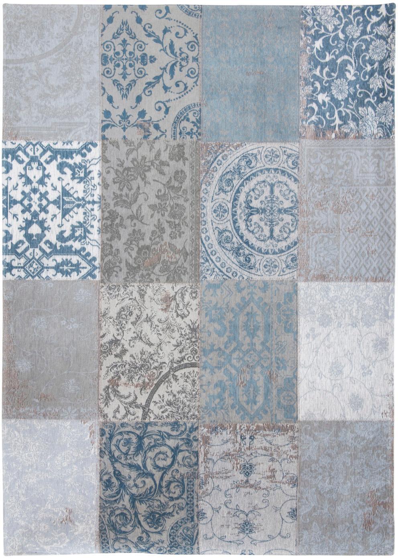 Chenille-Teppich Multi mit Patchwork-Design, Vorderseite: 85%Chenillegarn (Baumwol, Webart: Jacquard, Rückseite: Baumwollgemisch, latexbes, Blau, Grau, B 170 x L 240 cm (Größe M)
