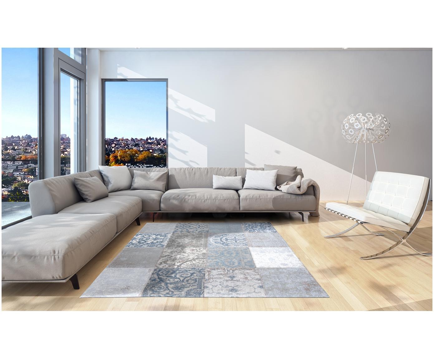 Chenille-Teppich Multi mit Patchwork-Design, Vorderseite: 85%Chenillegarn (Baumwol, Webart: Jacquard, Rückseite: Baumwollgemisch, latexbes, Blau, Grau, B 140 x L 200 cm (Größe S)