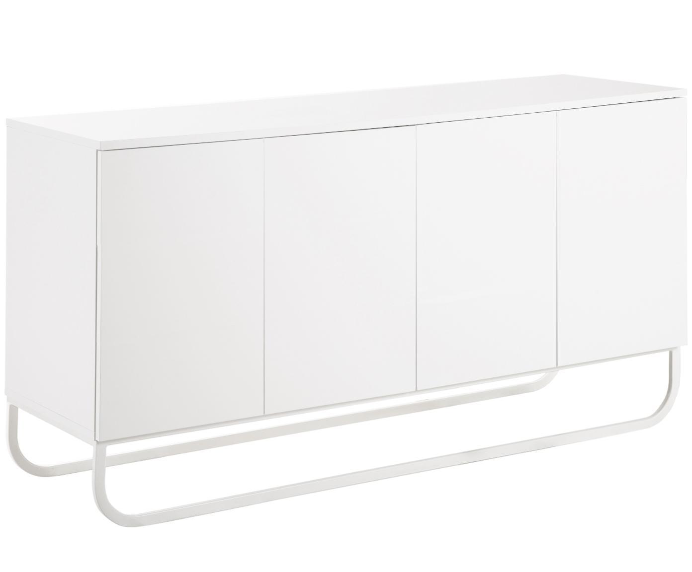 Klassiek dressoir Sanford in wit, Frame: gelakt MDF, Frame: mat wit. Onderstel: mat wit, 160 x 83 cm